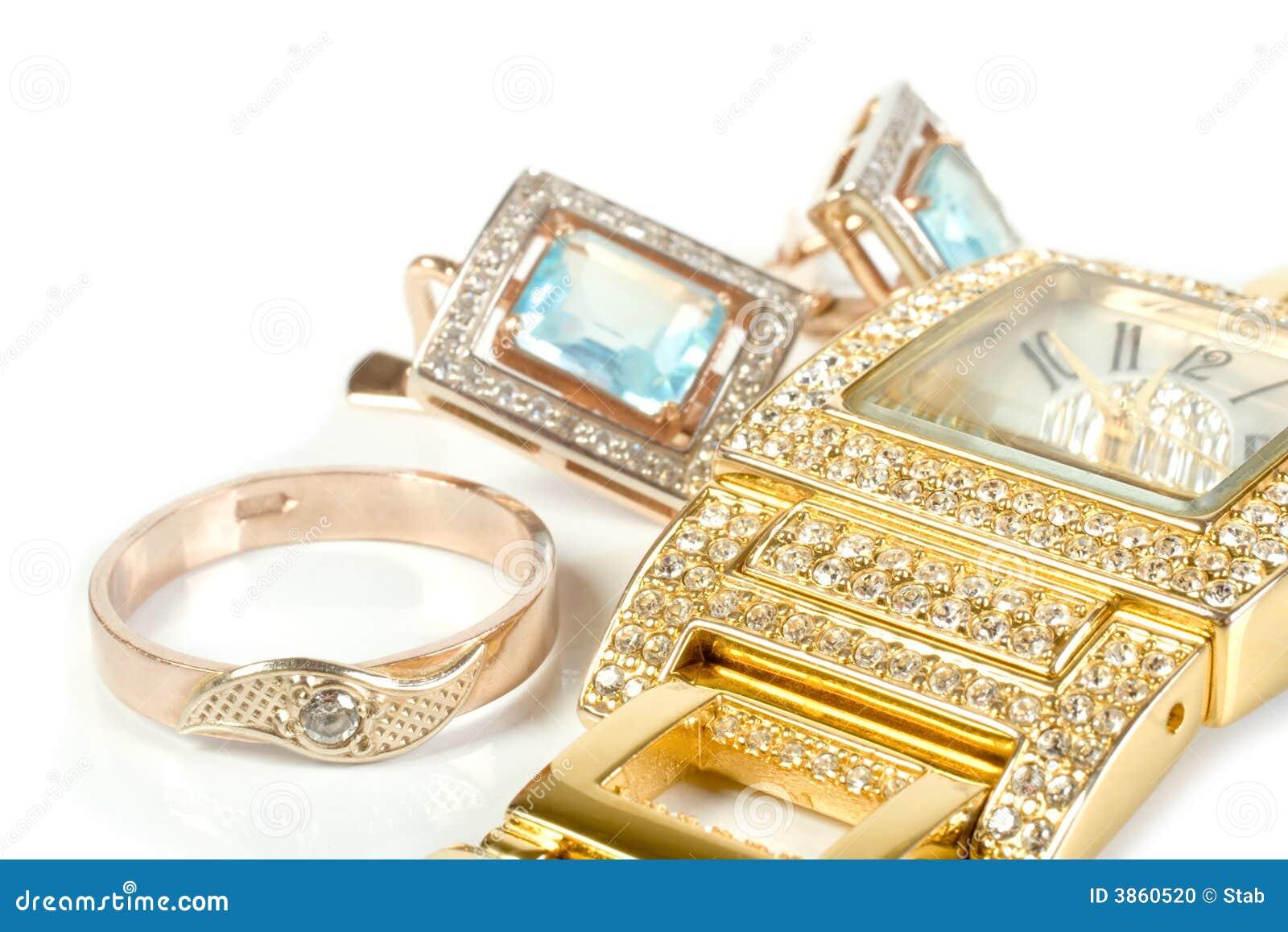 Insieme dei monili, anello, vigilanza, orecchini