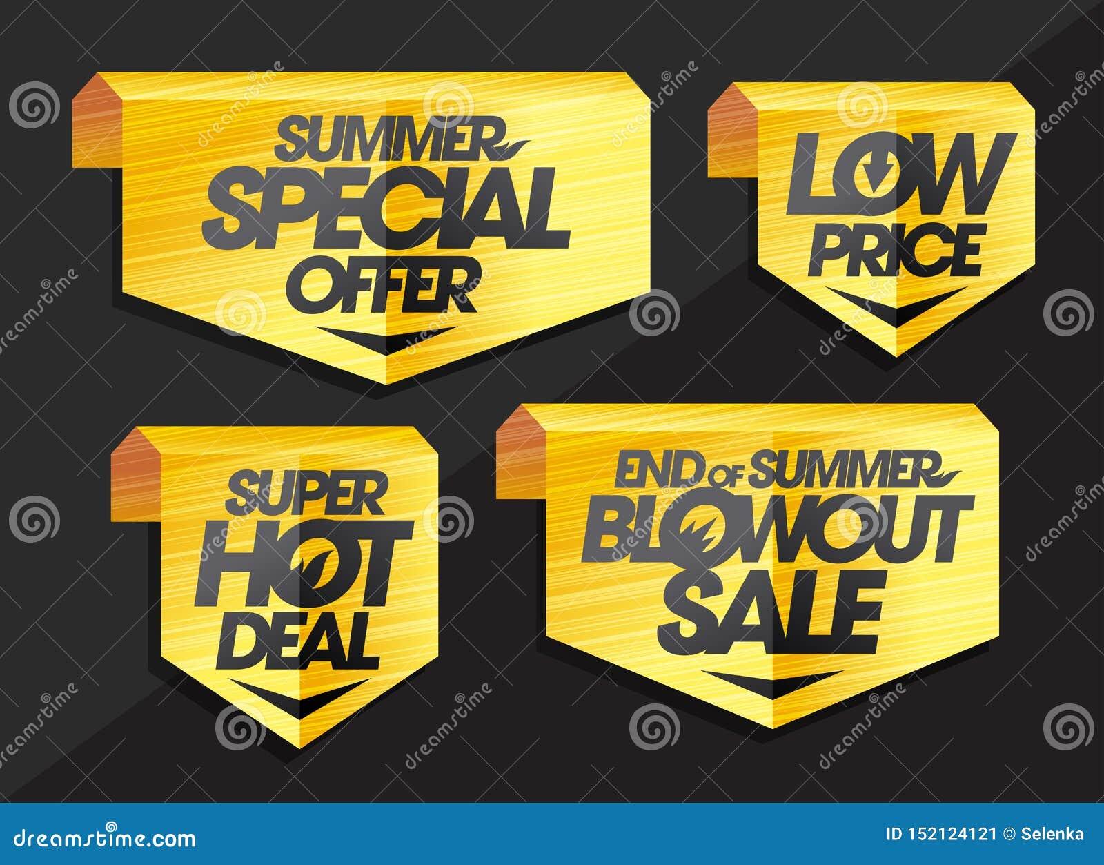 Insieme dei nastri e del segno - offerta speciale di estate, prezzo basso, affare caldo eccellente, conclusione della vendita del