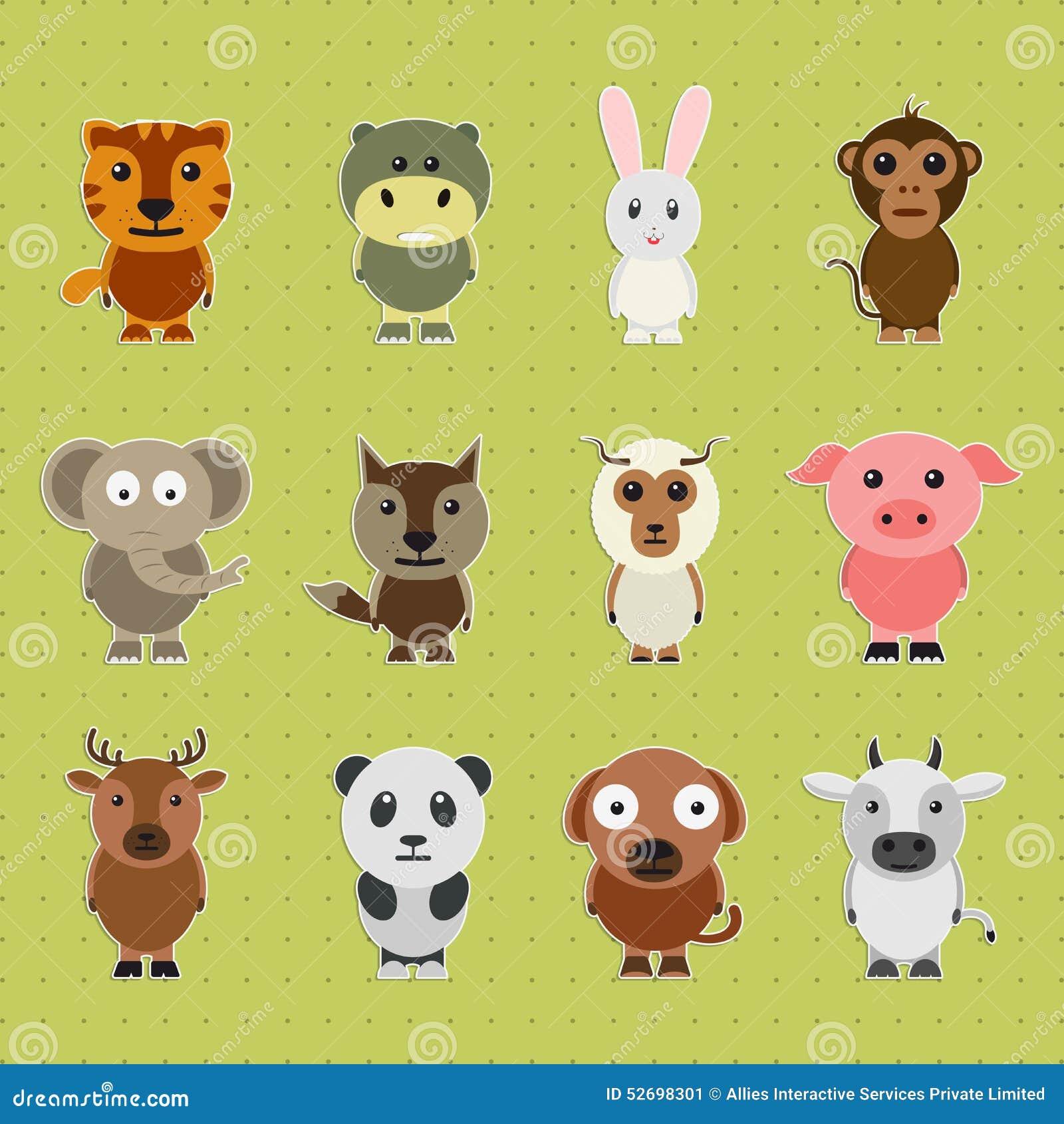 Insieme dei personaggi cartoni animati animali