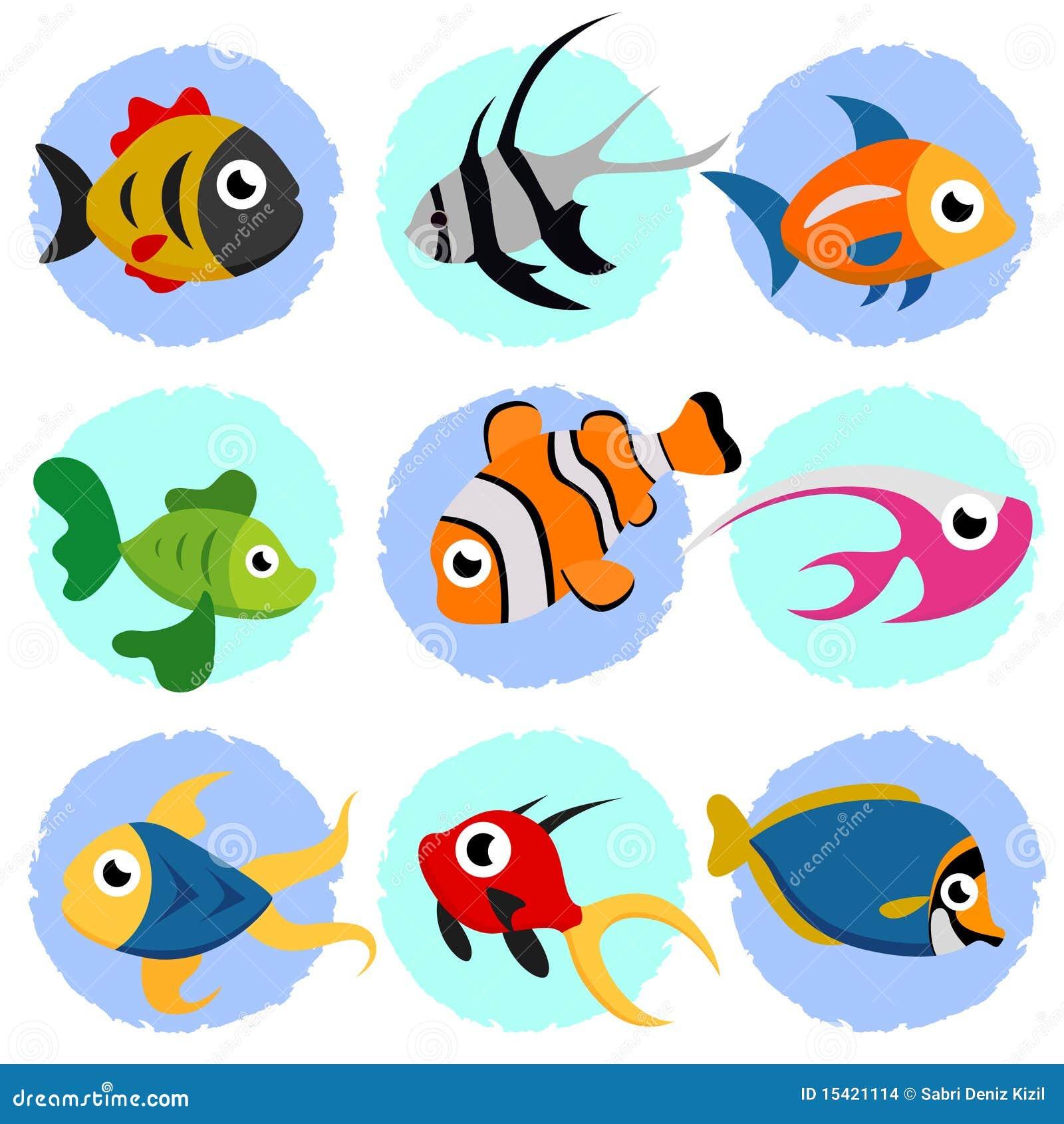 Insieme dei pesci del fumetto