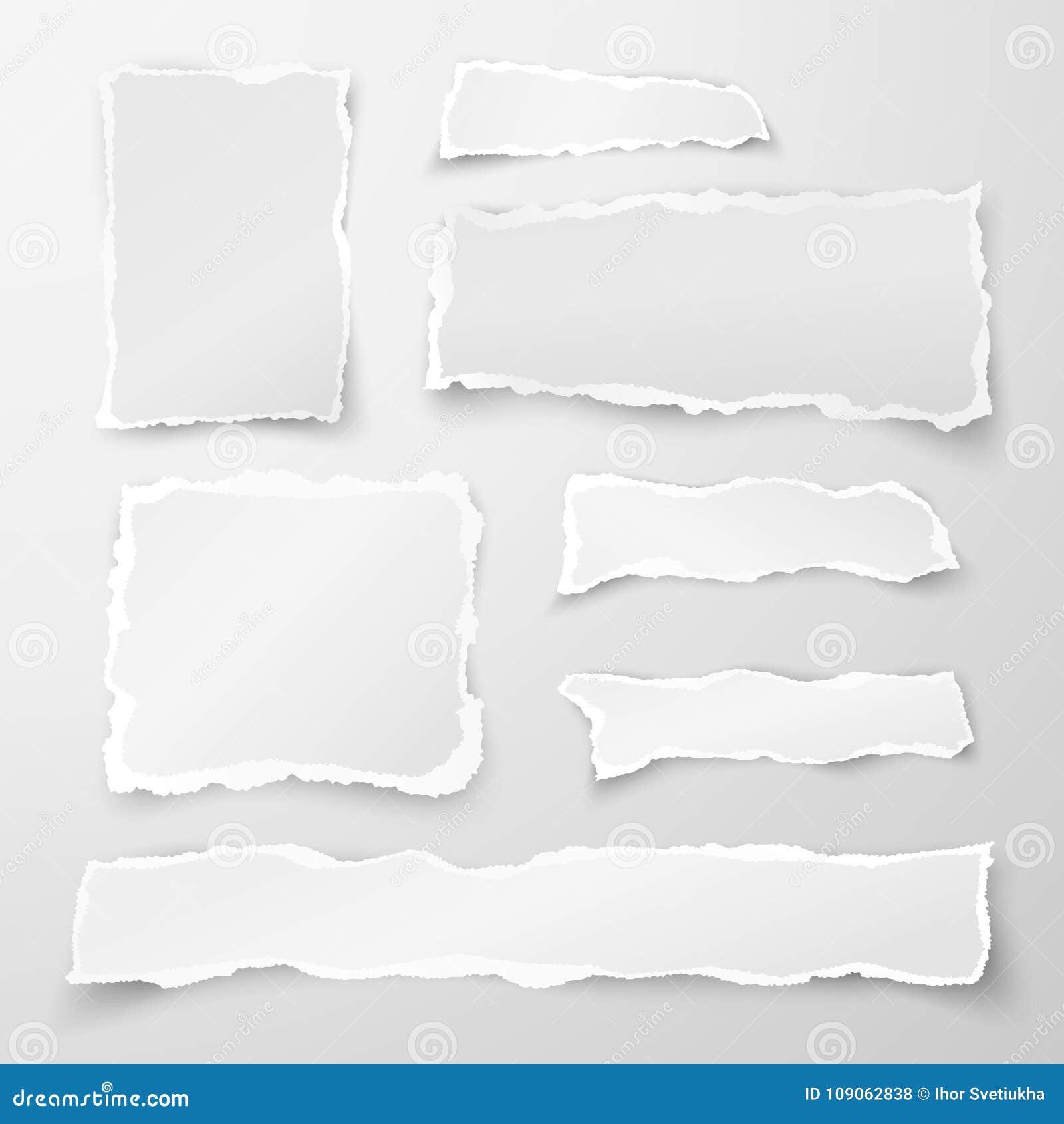 Insieme dei pezzi di carta lacerati Ritagli di carta Obietti la striscia con ombra isolata su fondo grigio Vettore