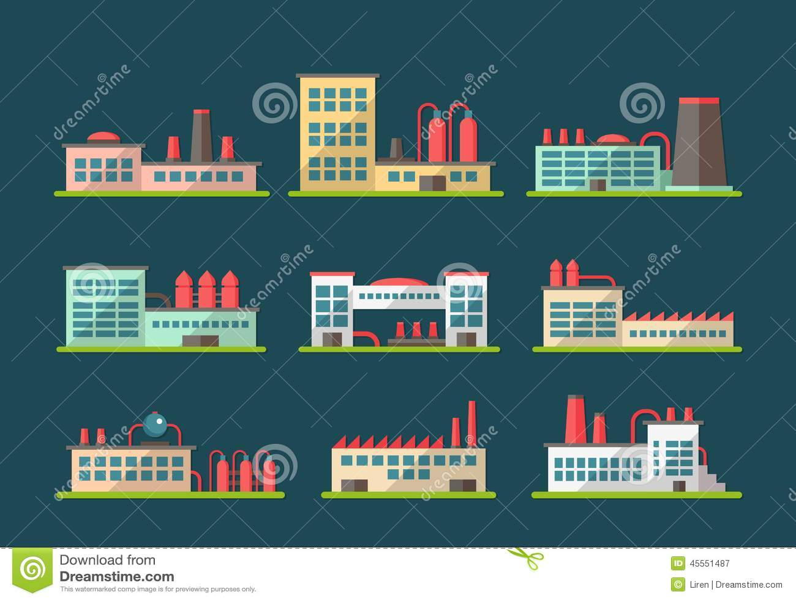 Insieme dei pittogrammi piani dei fabbricati industriali for Progettazione di piani di pavimento capannone