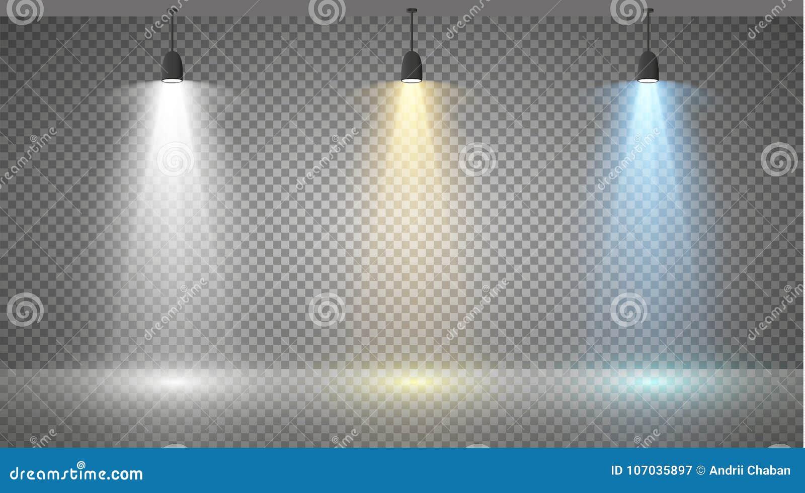 Insieme dei proiettori colorati su un fondo trasparente