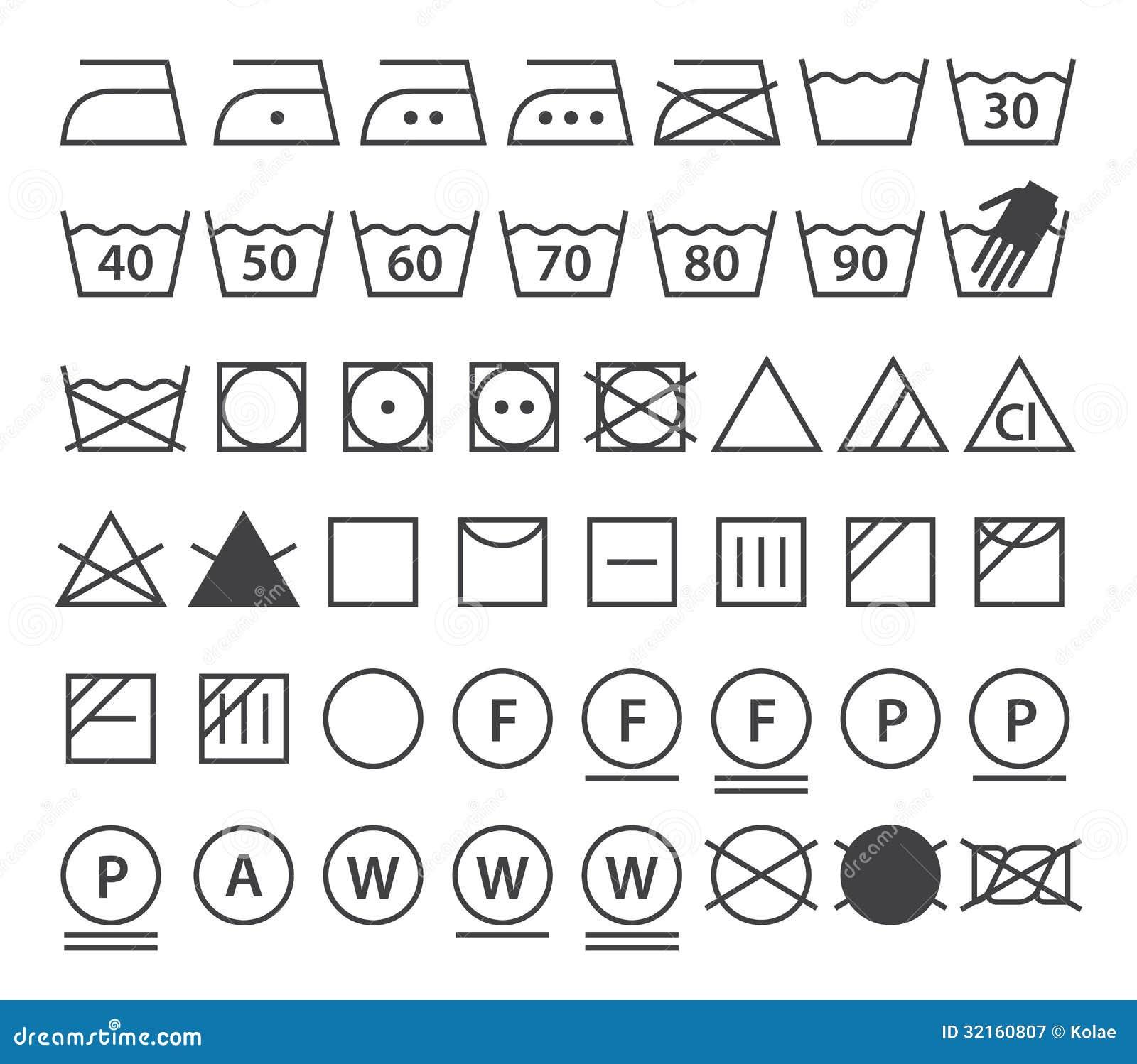 insieme dei simboli di lavaggio icone della lavanderia illustrazione vettoriale immagine. Black Bedroom Furniture Sets. Home Design Ideas