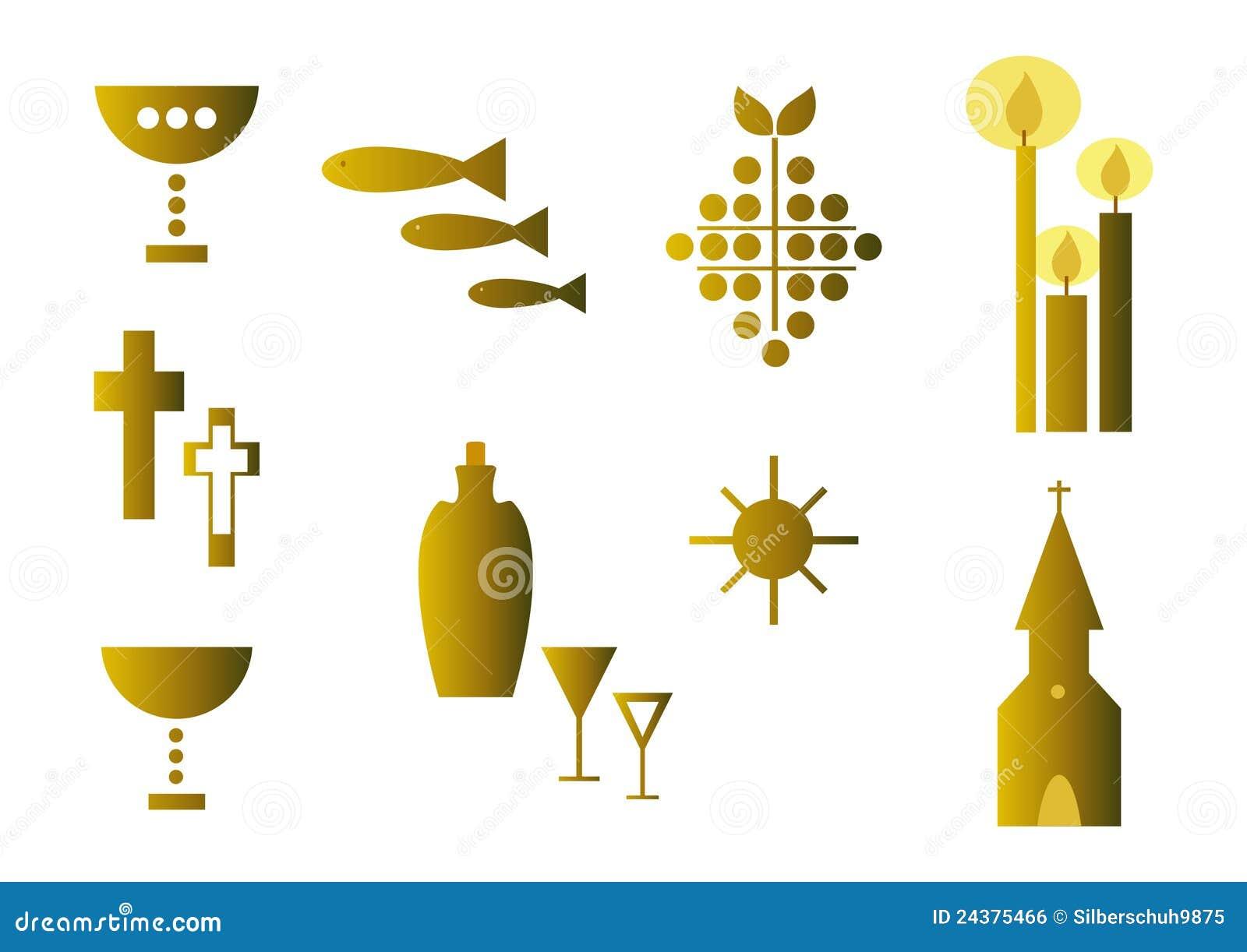 Insieme dei simboli religiosi oro illustrazione for Arredi religiosi