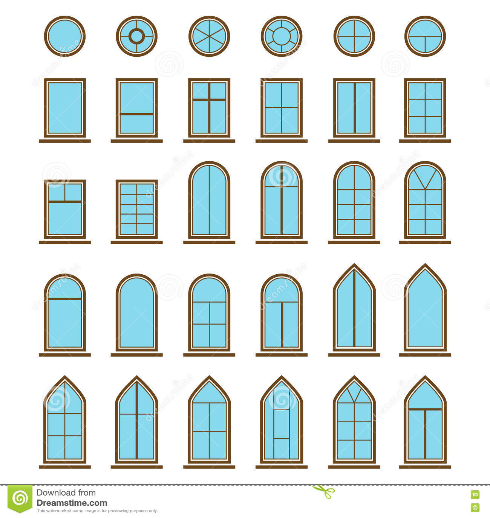 insieme dei tipi differenti della finestra e del vetro delle icone illustrazione vettoriale. Black Bedroom Furniture Sets. Home Design Ideas