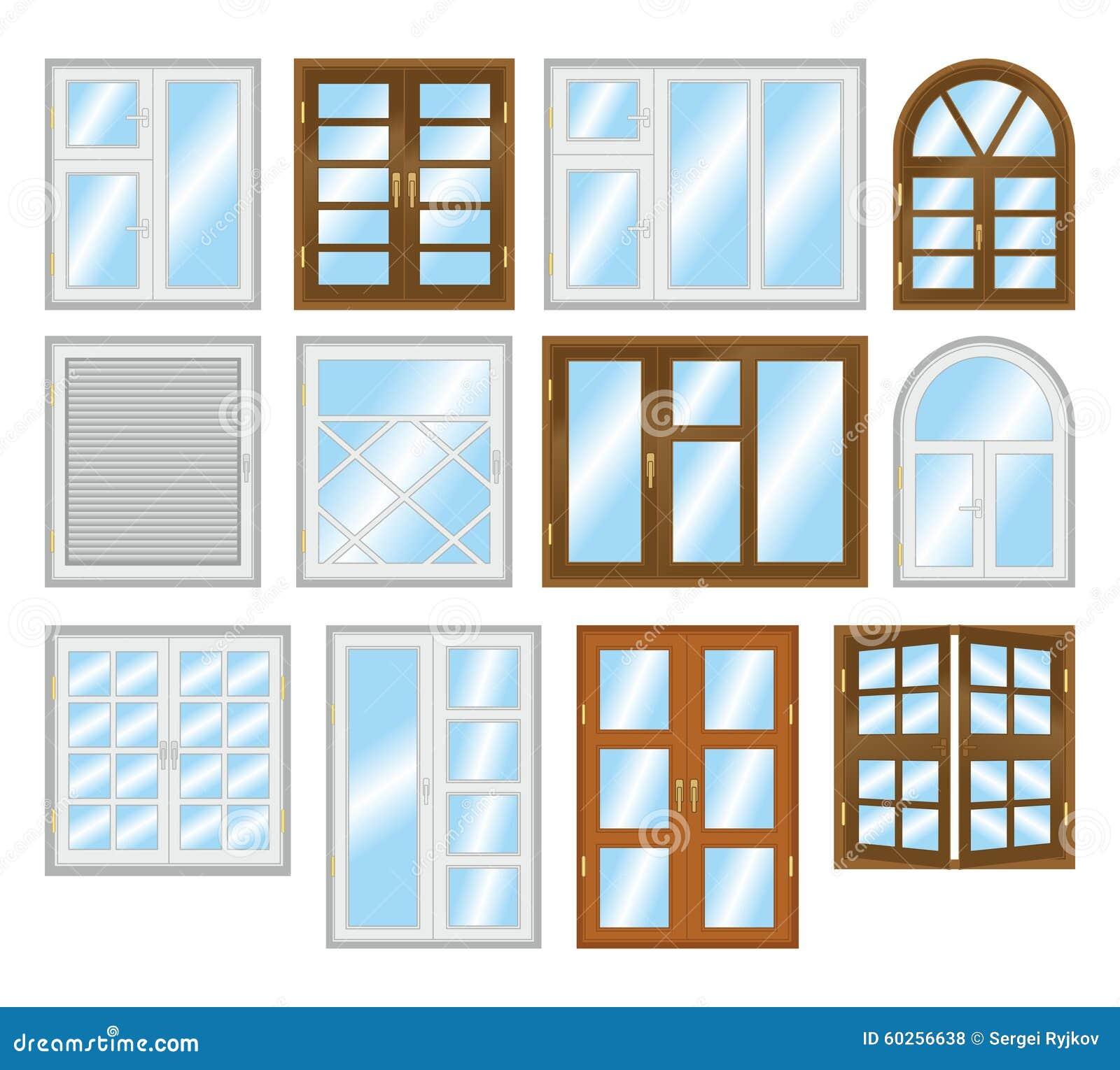 Insieme dei tipi differenti di finestre illustrazione di - Tipi di finestre ...