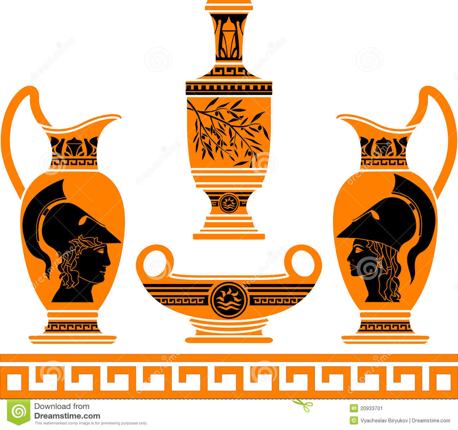 Insieme dei vasi ellenici immagine stock immagine 20933701 for Decorazione vasi