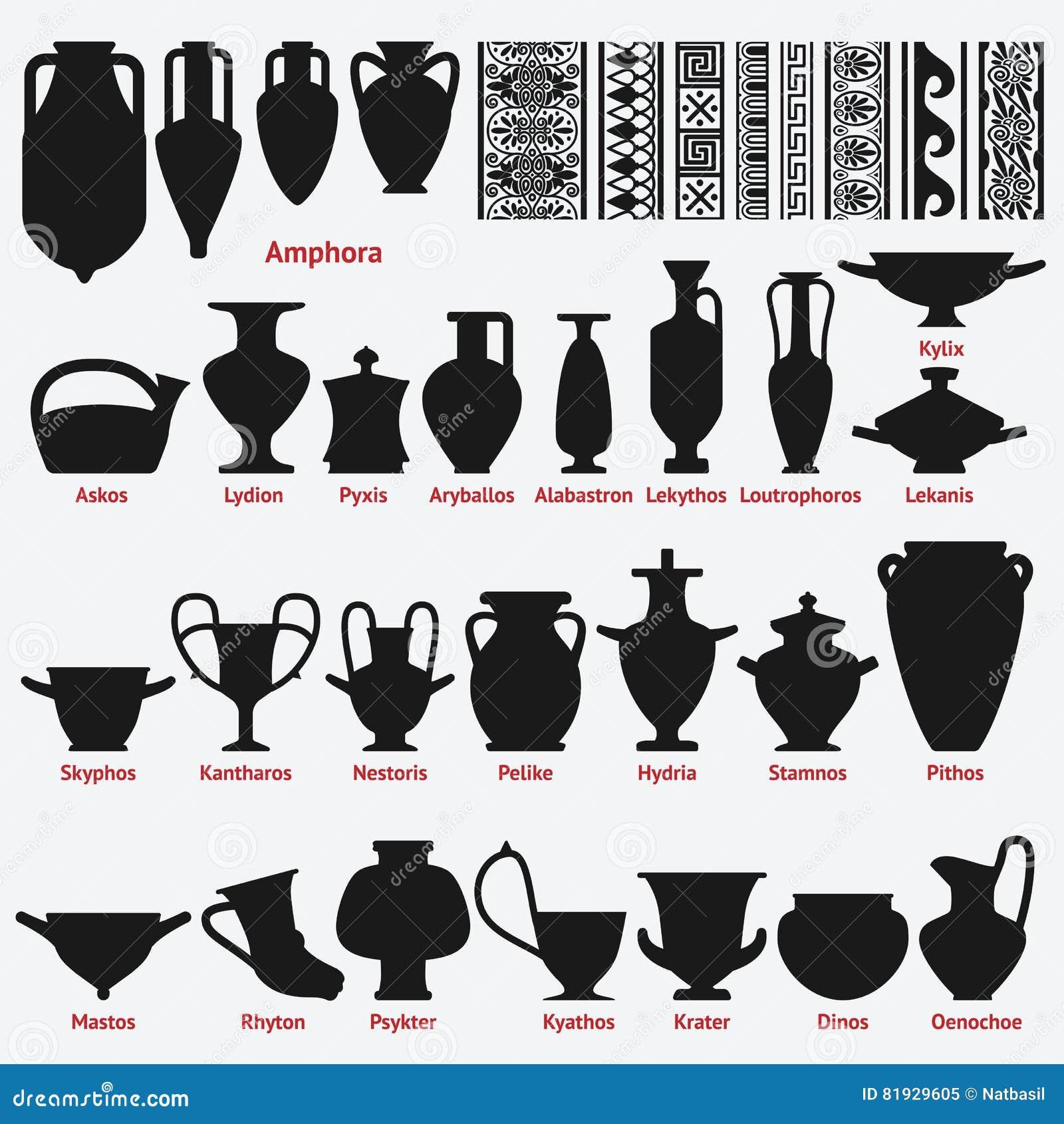 Decorazioni Dei Vasi Greci.Insieme Dei Vasi Greci Antichi E Dei Modelli Senza Cuciture Della