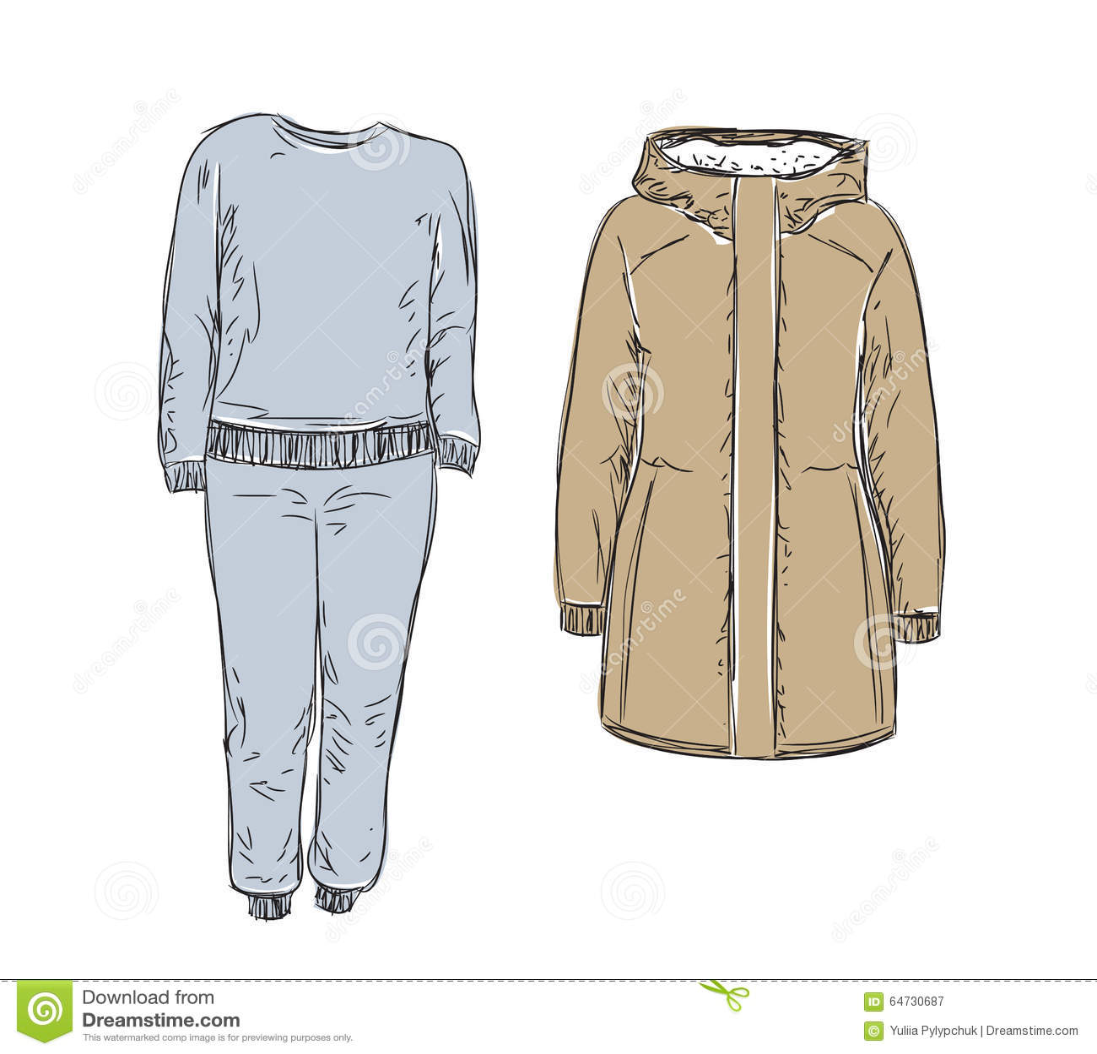 Insieme dei vestiti caldi