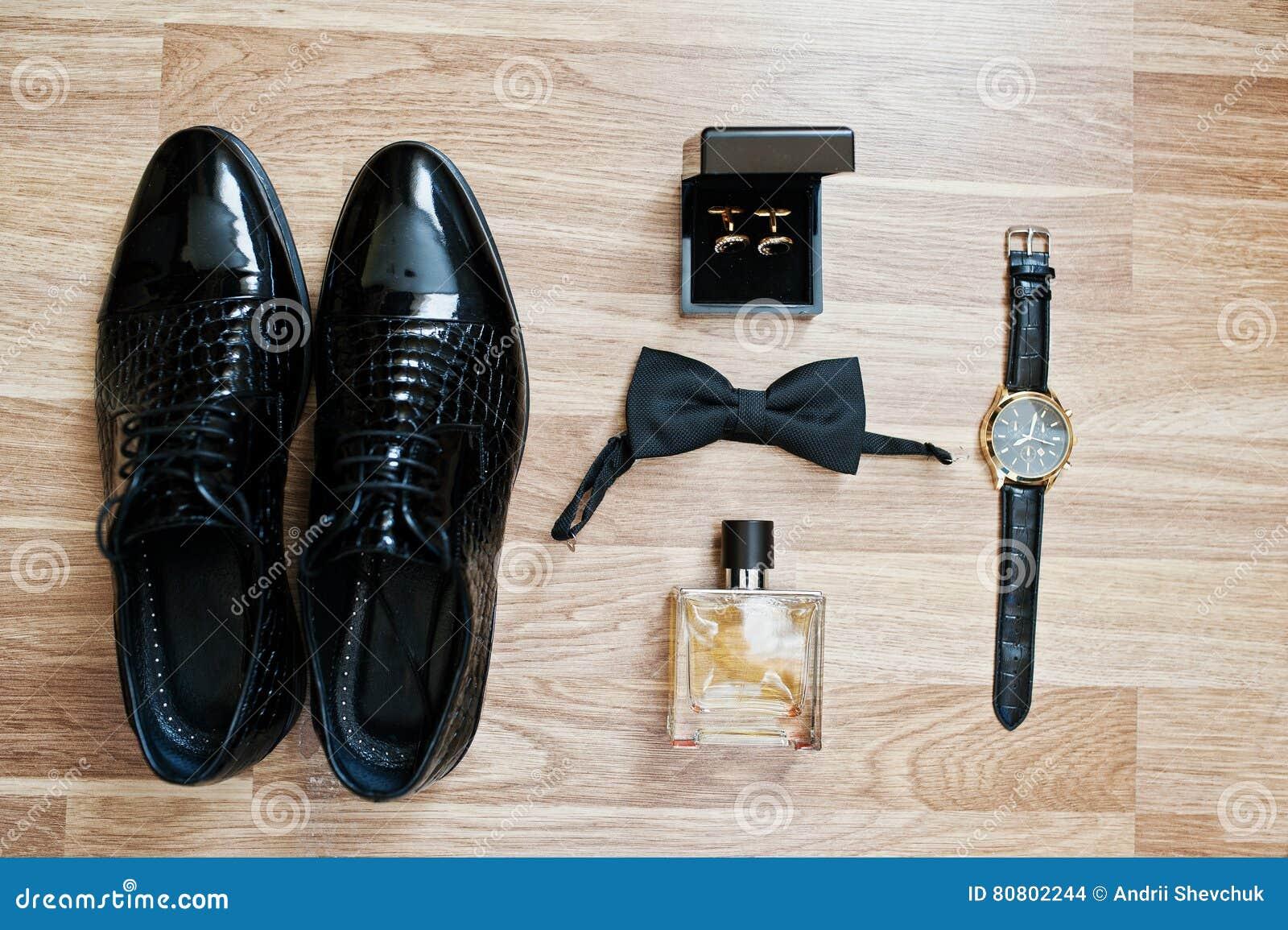 Insieme dei vestiti e degli accessori d avanguardia del ` s degli uomini Farfallini stabiliti dello sposo,