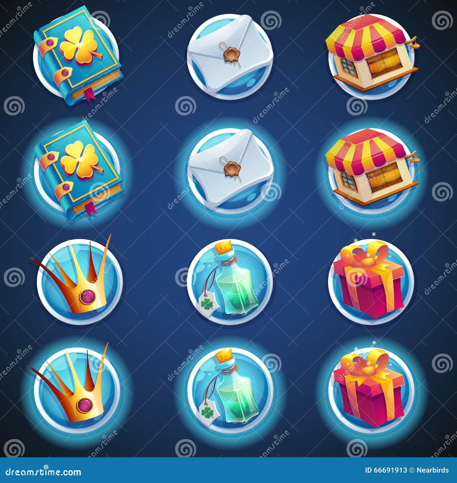 Insieme del bottone delle icone per i video giochi di web
