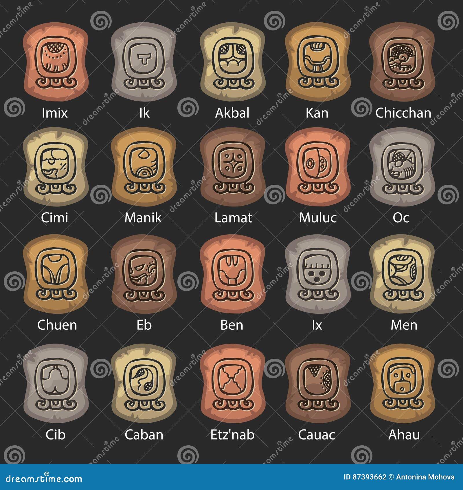 Il Calendario Maya.Insieme Del Calendario Maya Fatto Della Pietra Illustrazione
