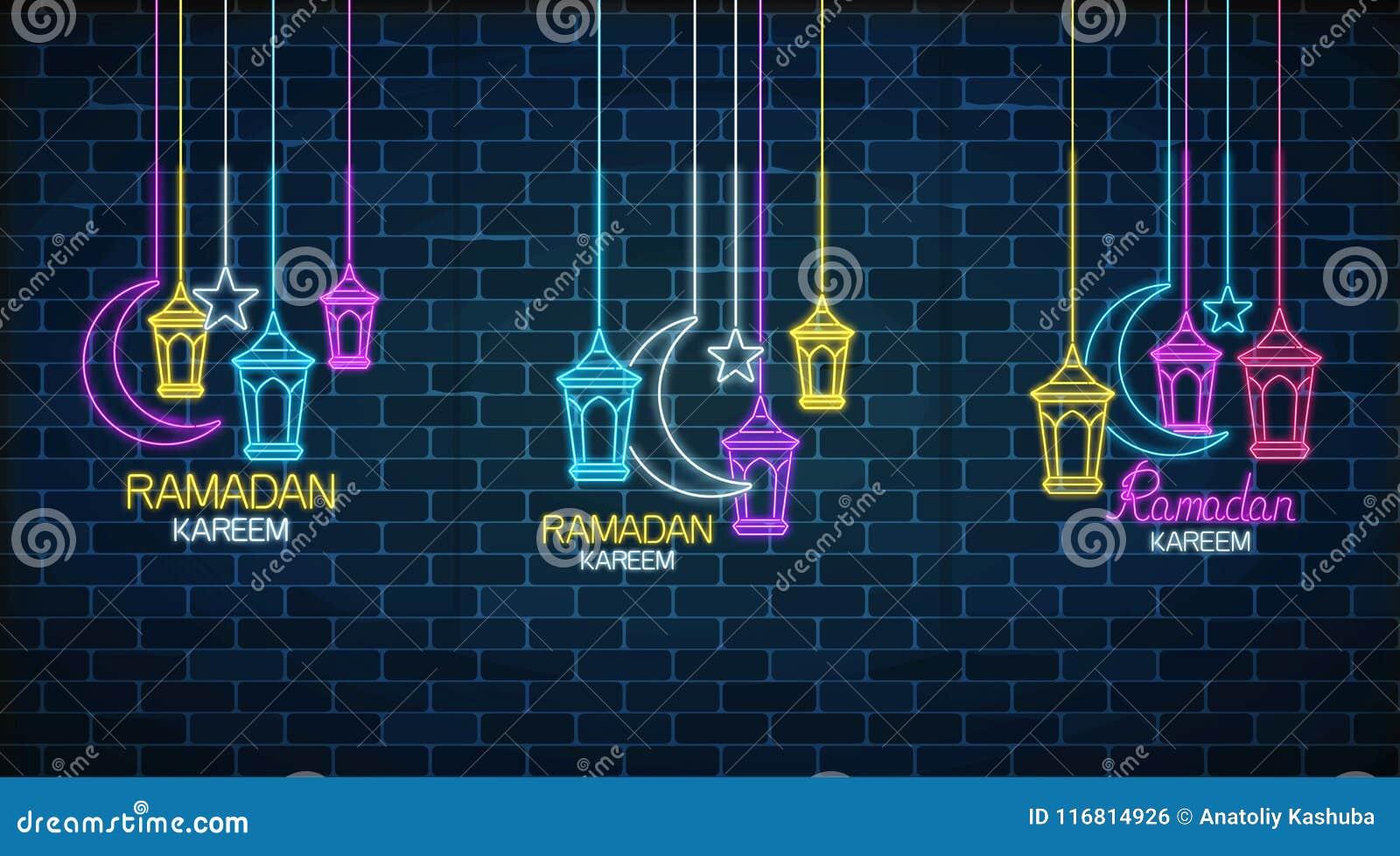 Insieme del kareem del Ramadan delle cartoline d auguri con le lanterne, la stella e la mezzaluna di fanus Insegna santa al neon