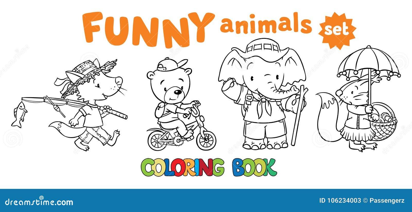 Insieme Del Libro Da Colorare Degli Animali Divertenti Del Bambino