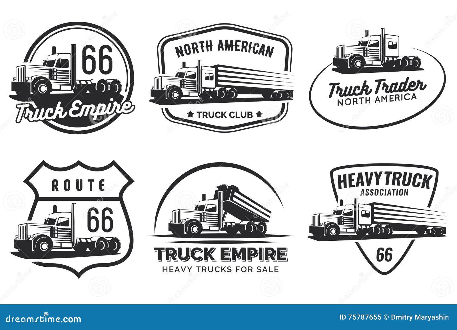 Insieme del logo classico, degli emblemi e dei distintivi del camion pesante