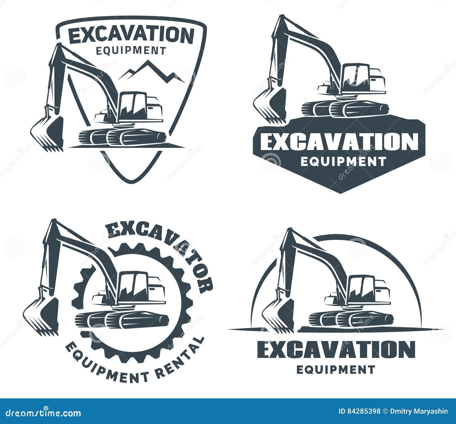Insieme del logo dell escavatore