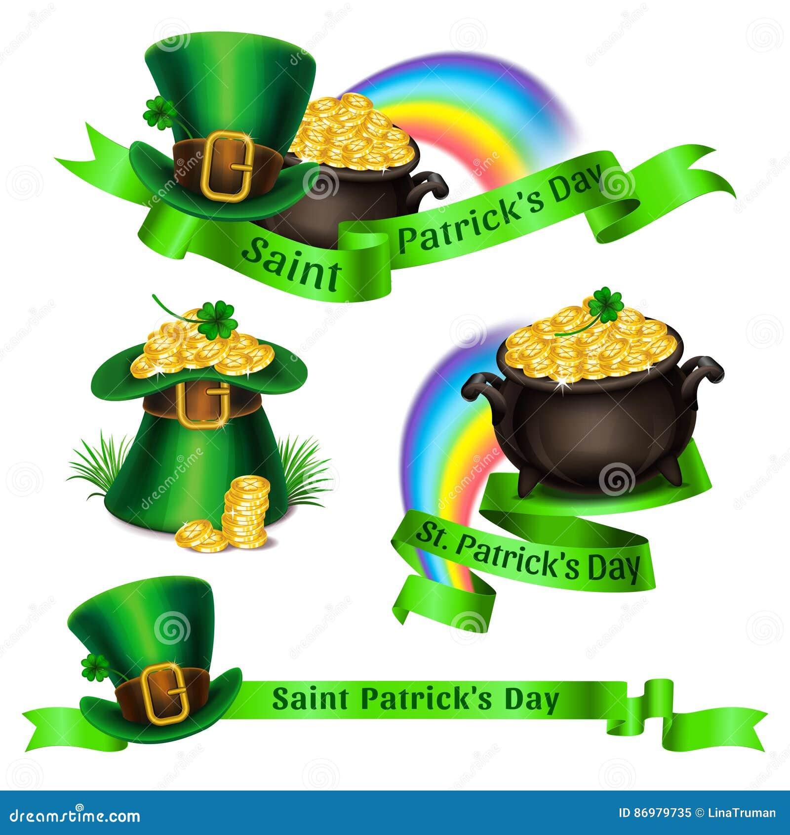 Insieme del logos di giorno del s di stpatrick simboli - St patricks giorno fogli di colore giorno ...