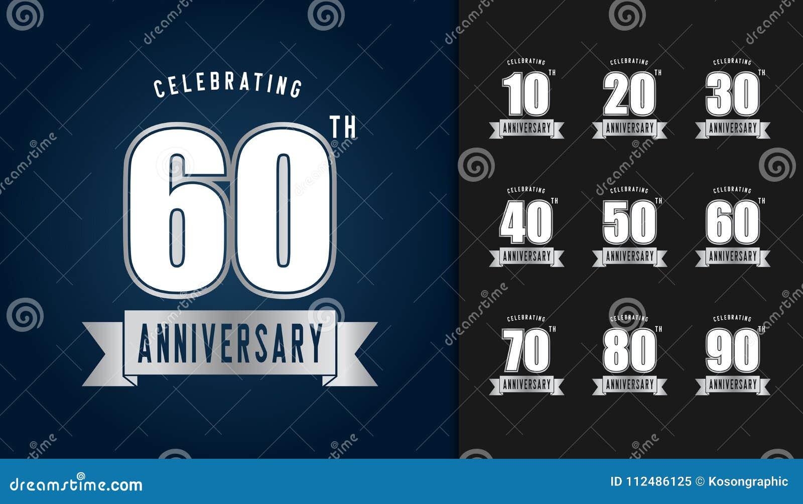 Insieme del logotype di anniversario Embl d argento di celebrazione di anniversario