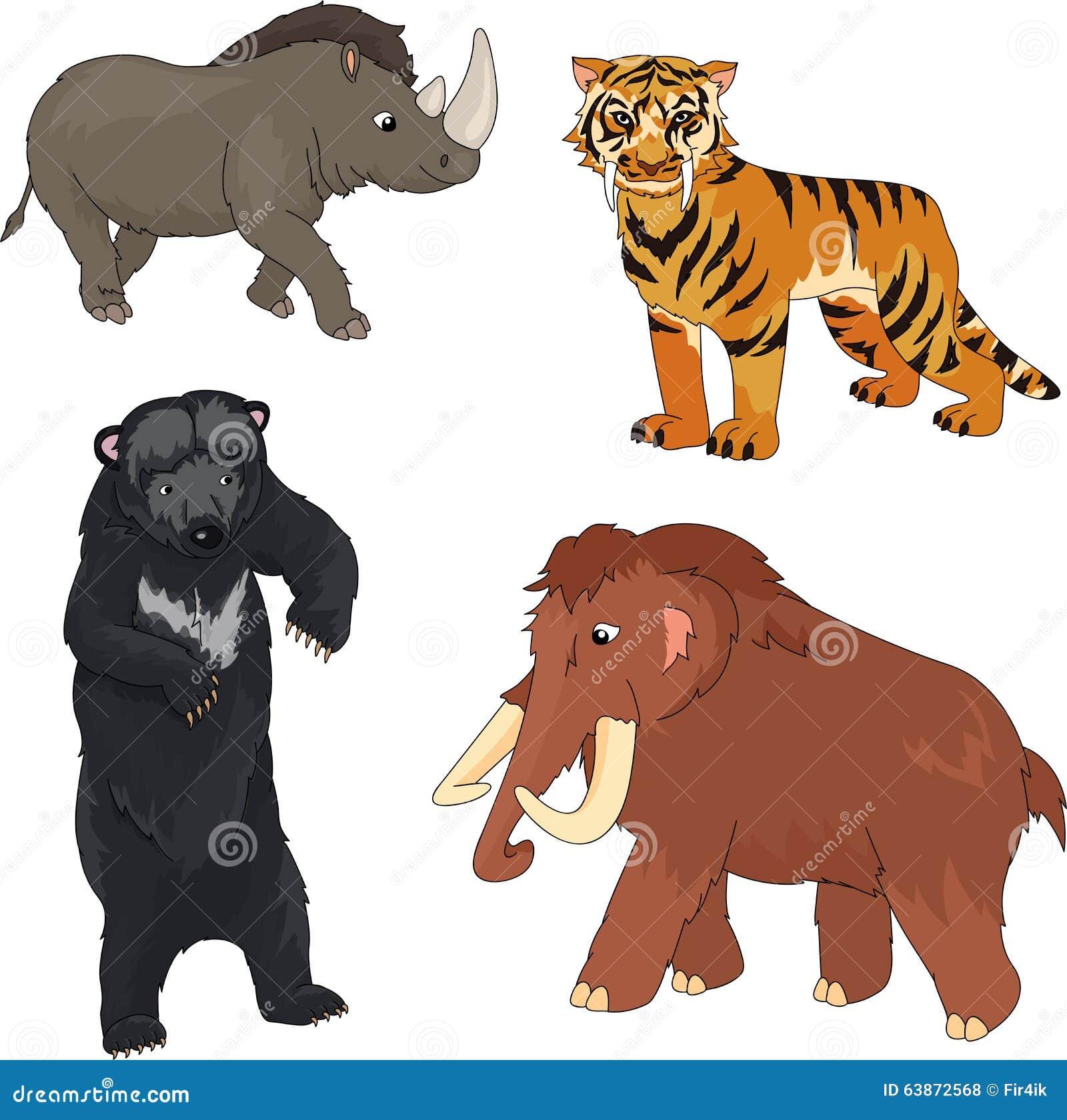 Insieme Del Mammut Dellorso Preistorico Della Tigre Dai Denti A