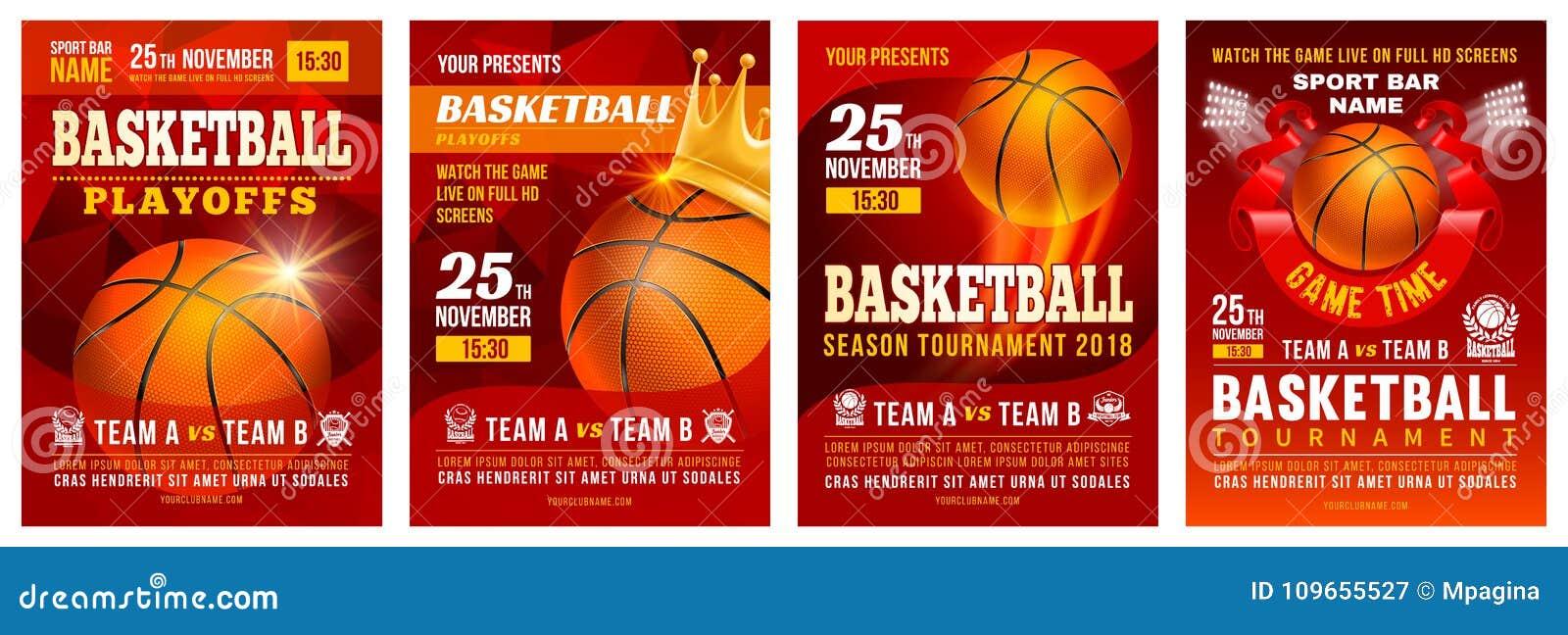 Insieme del manifesto di pallacanestro