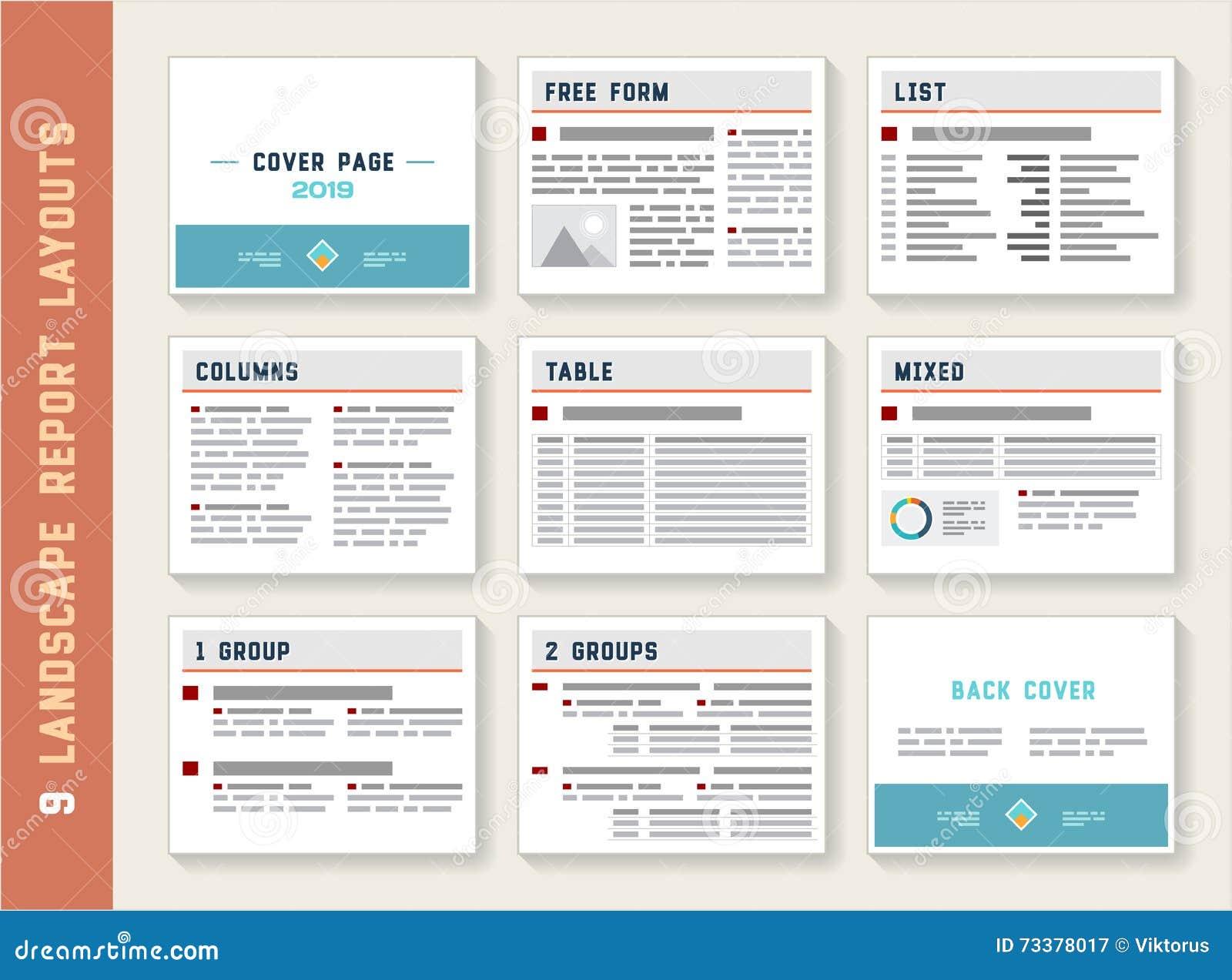 Insieme del modello dei modelli della disposizione dell album del paesaggio rapporto del documento