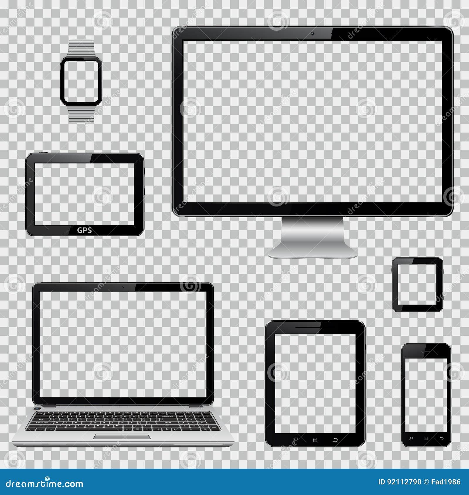 Insieme del monitor realistico del computer, del computer portatile, della compressa, del telefono cellulare, dell orologio astut
