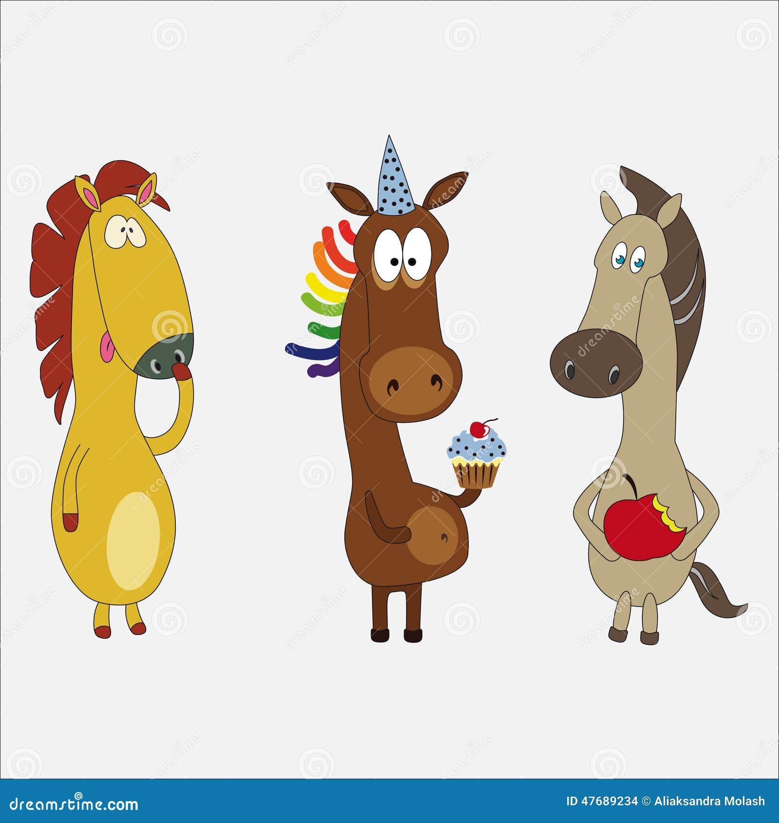 Cartoni animati cavalli insieme del personaggio dei