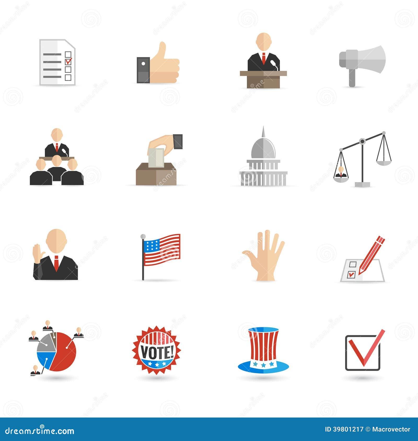 Insieme del piano delle icone di elezioni
