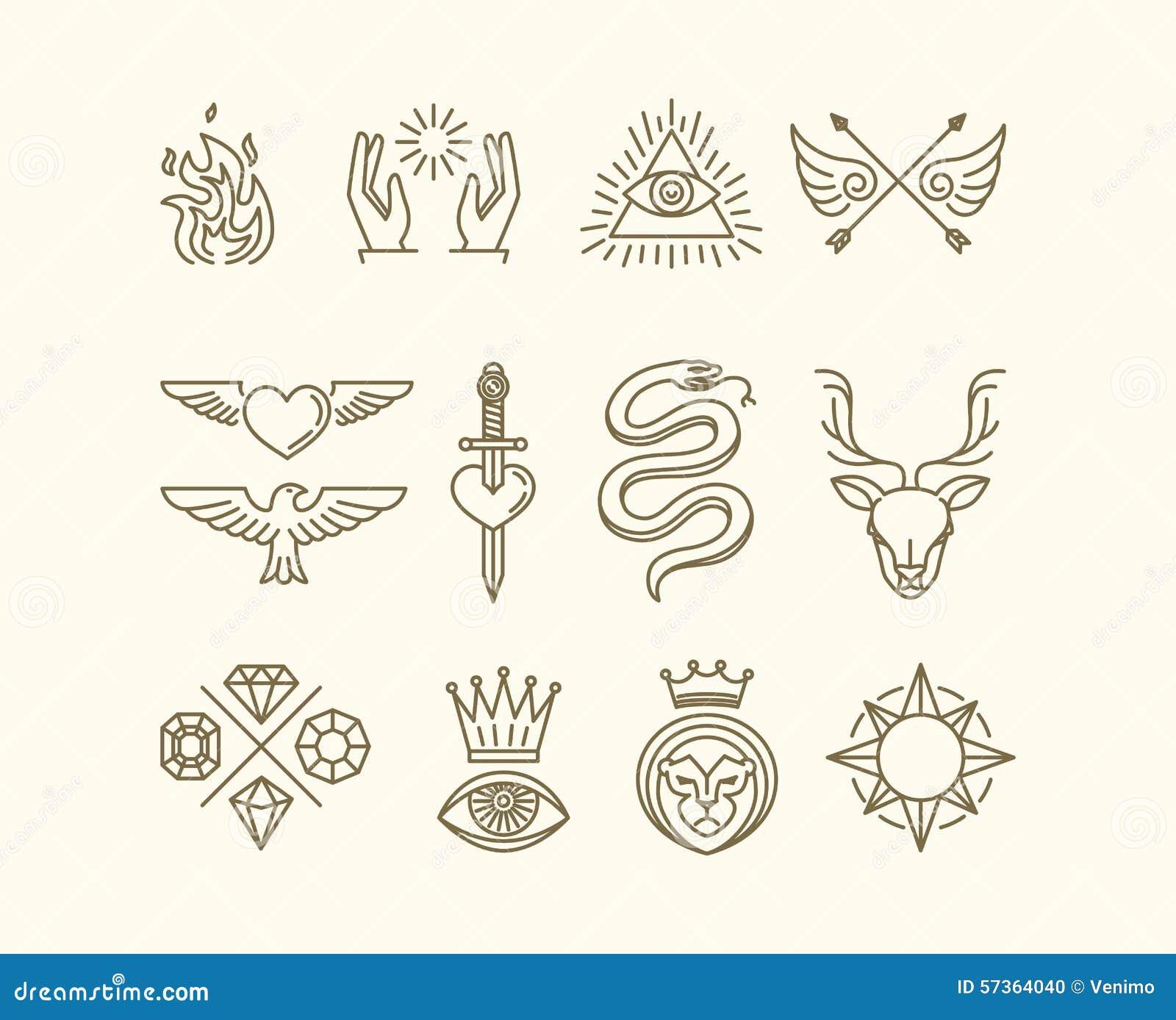 Insieme del tatuaggio di vettore
