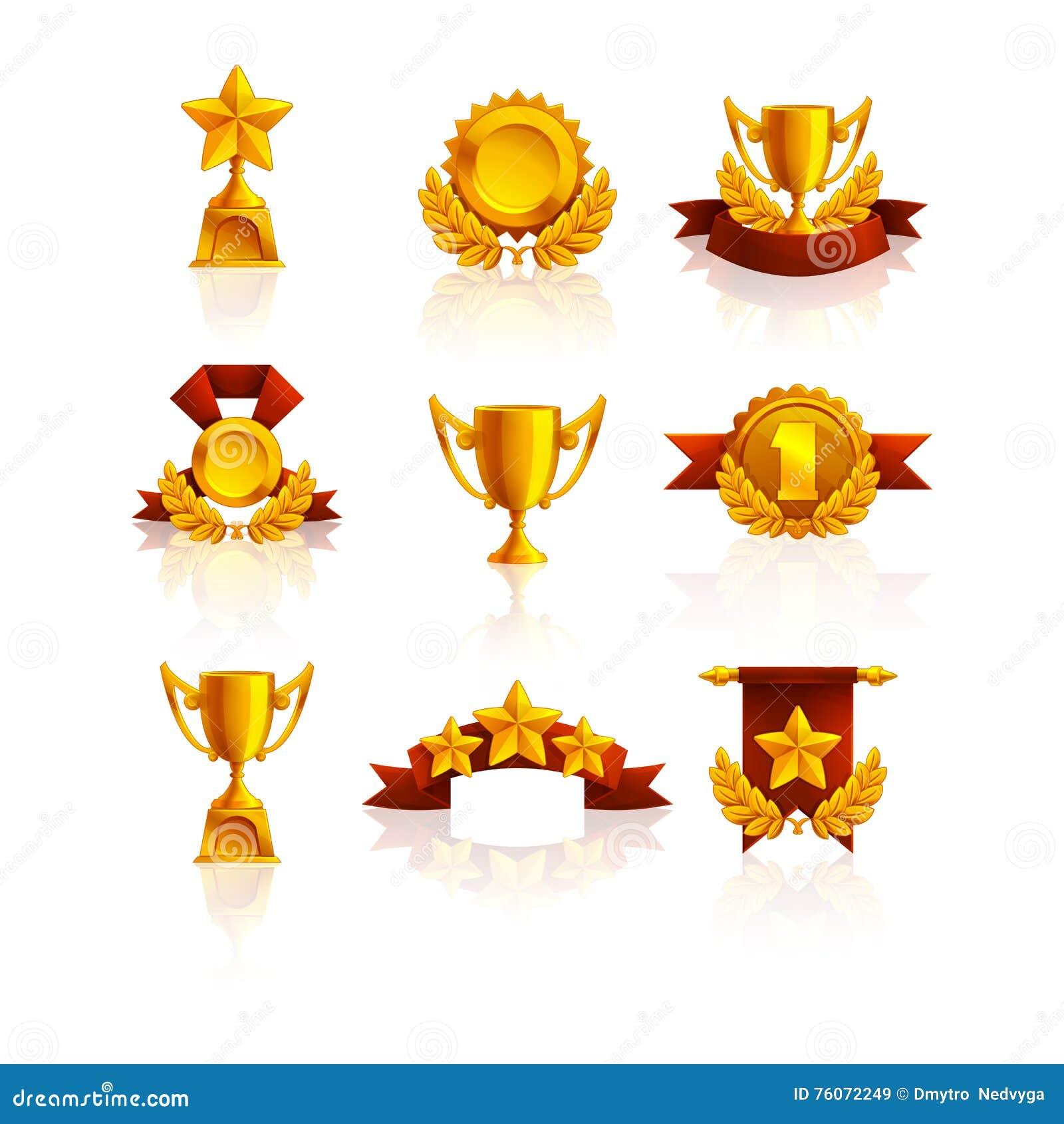 Insieme del trofeo, delle medaglie e del premio