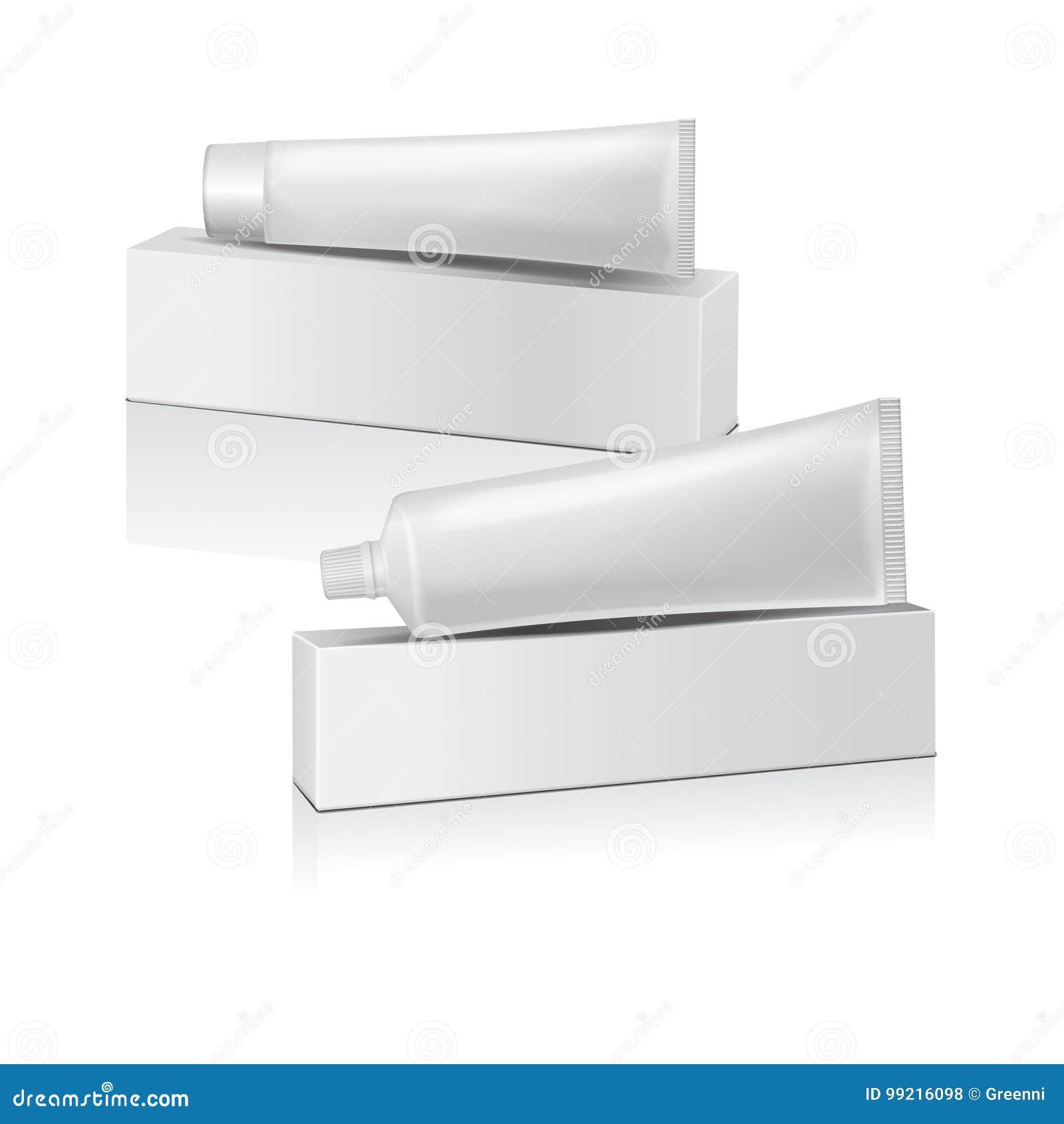 Insieme del tubo di plastica di vettore con la scatola bianca per medicina o i cosmetici - dentifricio in pasta, crema, gel, cura