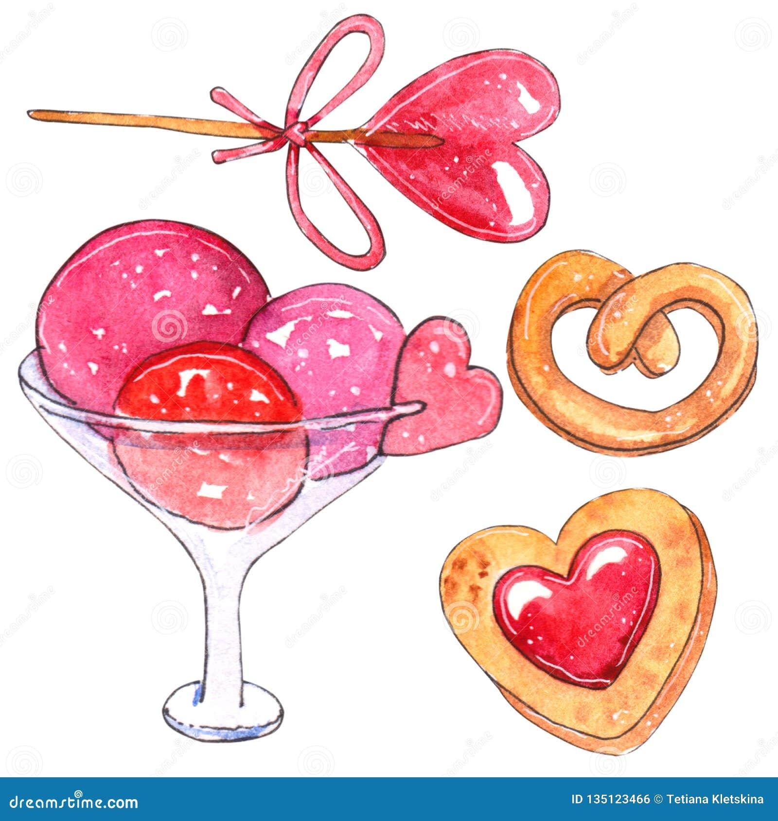 Insieme dell acquerello degli elementi per il giorno del ` s del biglietto di S. Valentino