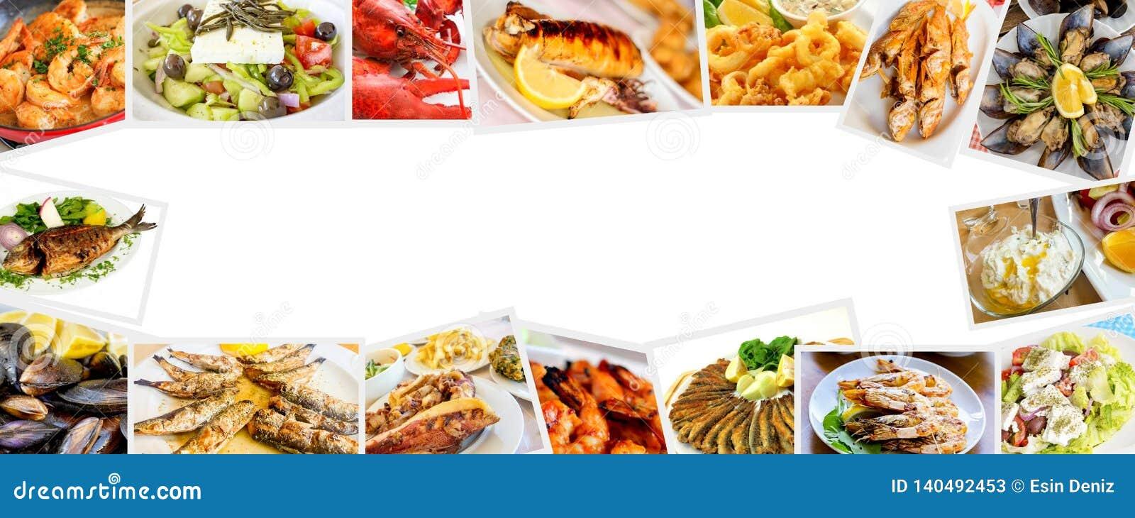 Insieme dell alimento del collage differente dei frutti di mare foto di concetto dell alimento