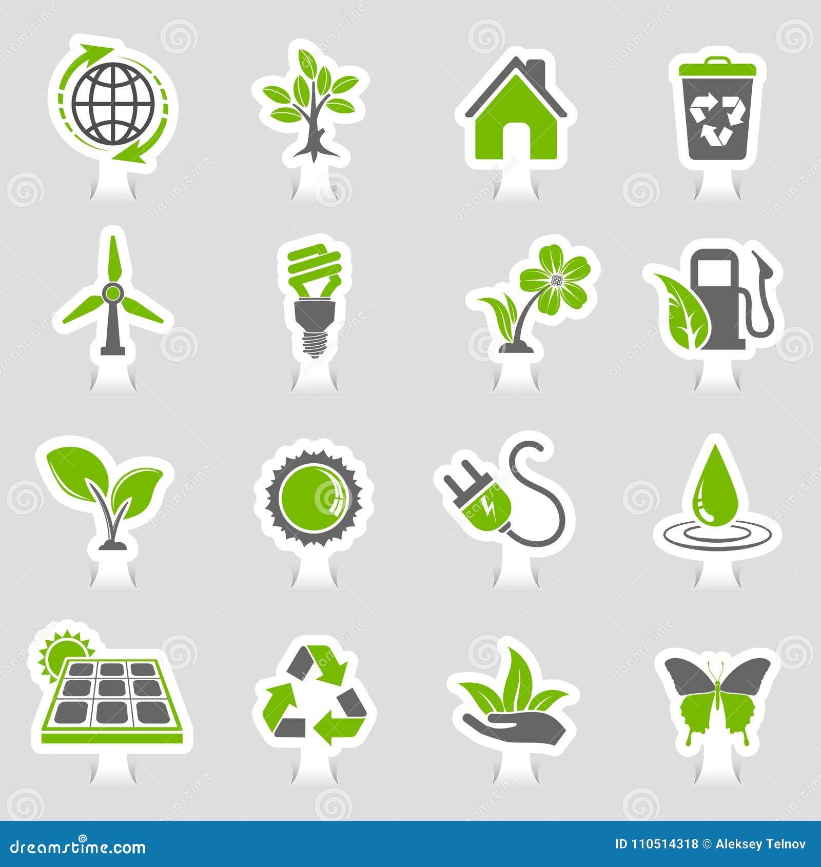 Insieme dell autoadesivo delle icone dell ambiente