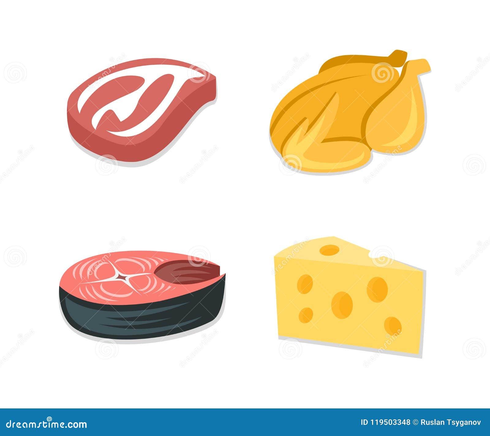 Insieme dell icona dell alimento, bistecca del bacon, pollo arrostito, trancio di pesce, fetta di formaggio Ingrediente di alimen