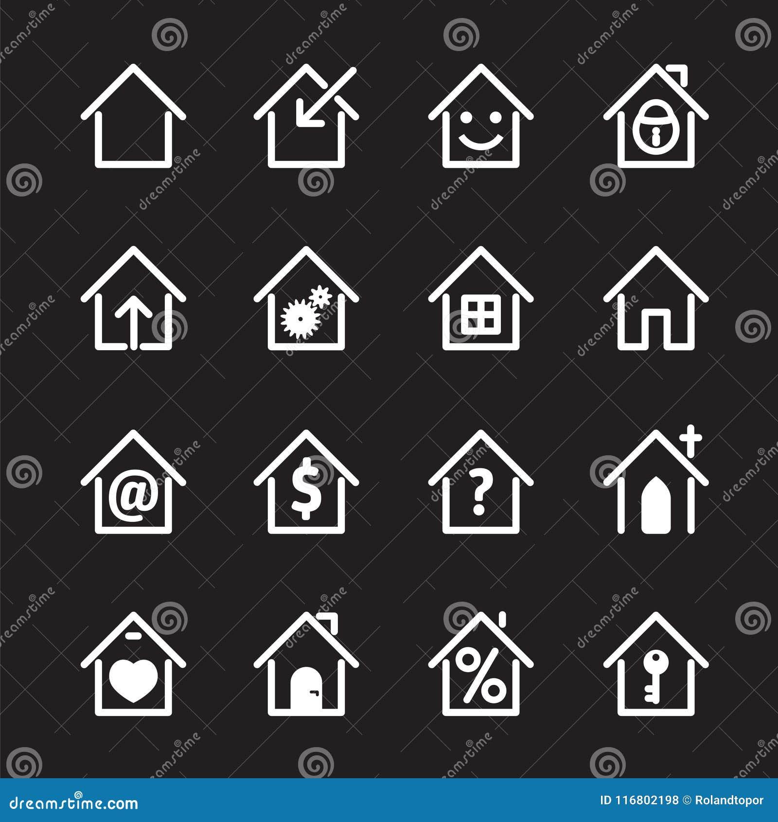 Insieme dell icona bianca della casa Illustrazione di vettore