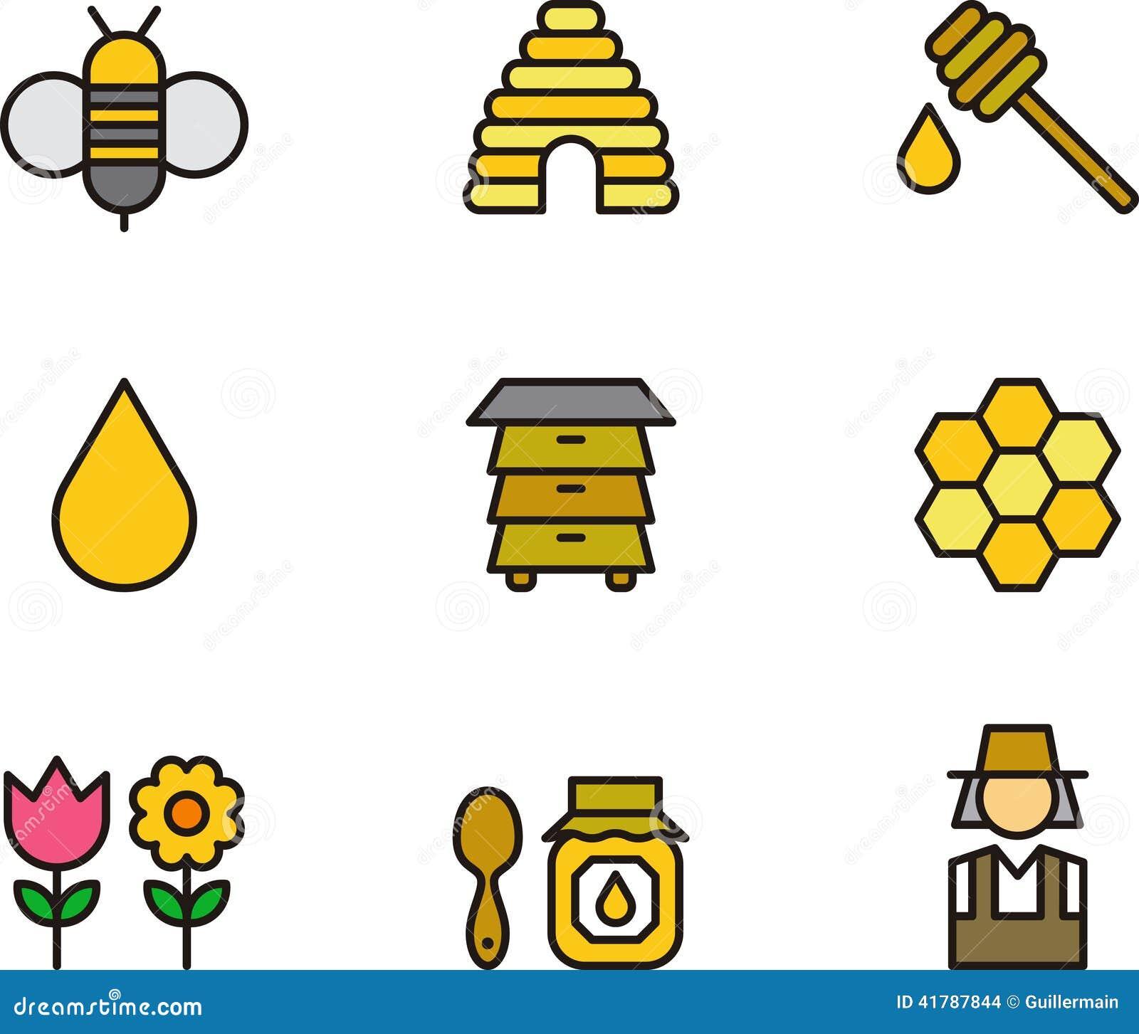 Insieme dell icona concernente miele e le api