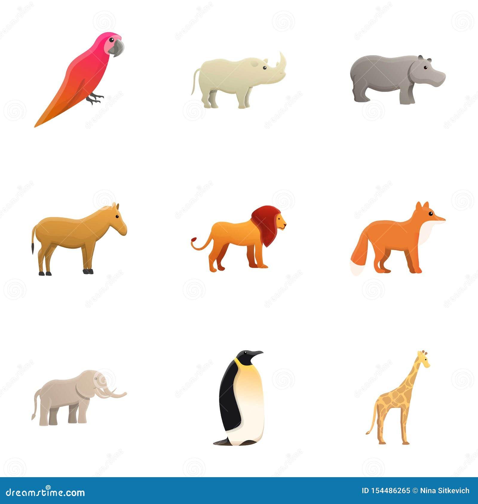 Insieme dell icona degli animali dello zoo della città, stile del fumetto