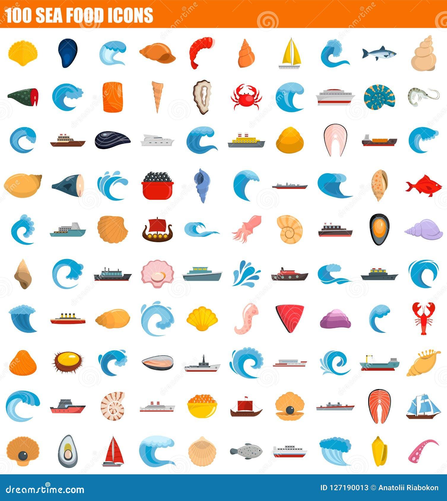 Insieme dell icona dei frutti di mare 100, stile piano