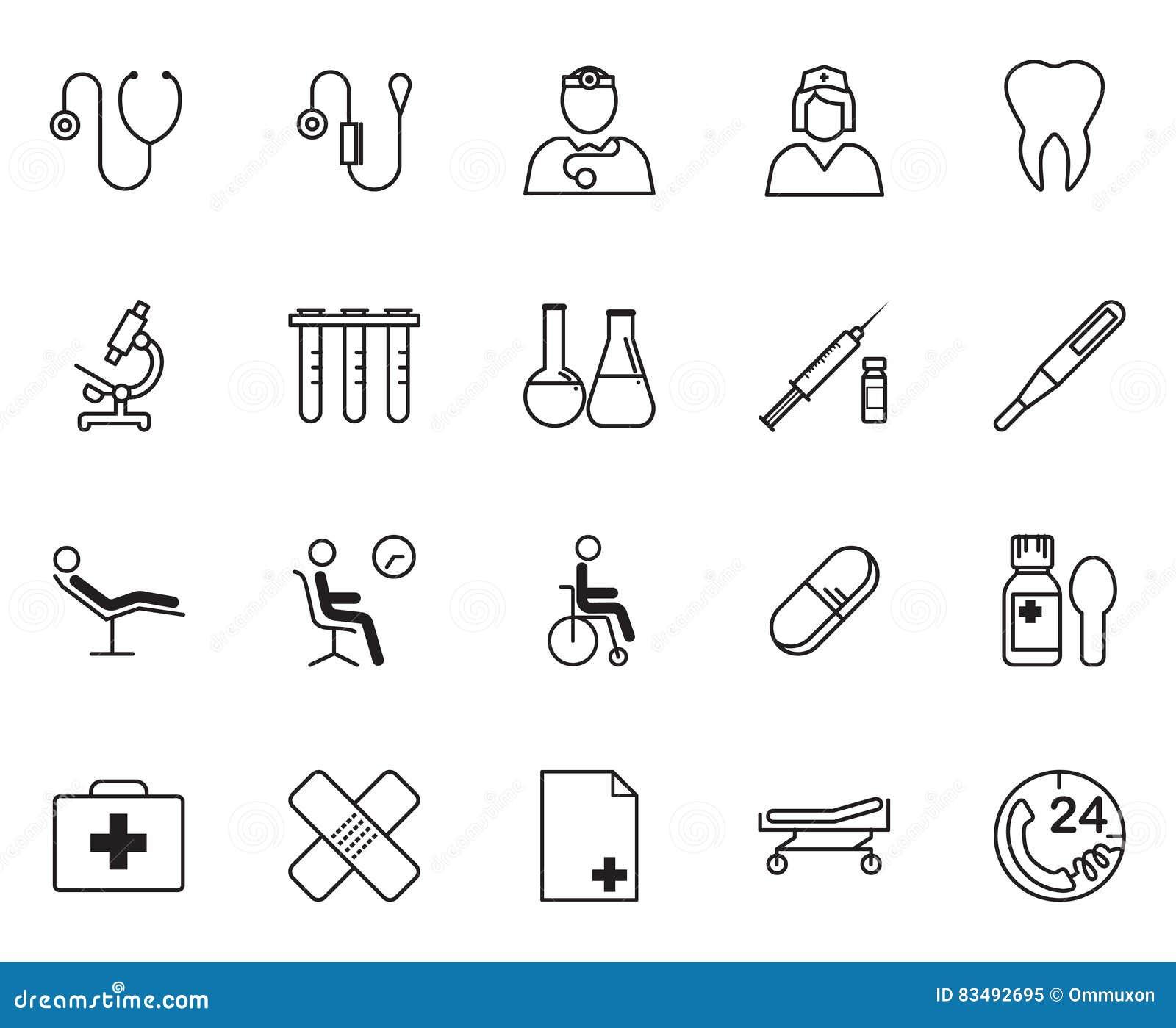 Insieme dell icona dei rifornimenti e dell attrezzatura medica