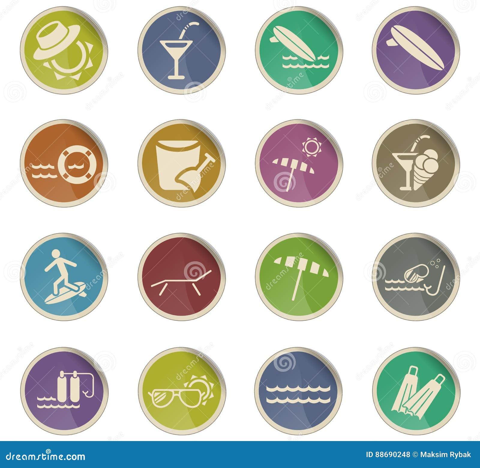 Insieme dell 39 icona della spiaggia illustrazione di stock for Planimetrie della cabina della spiaggia