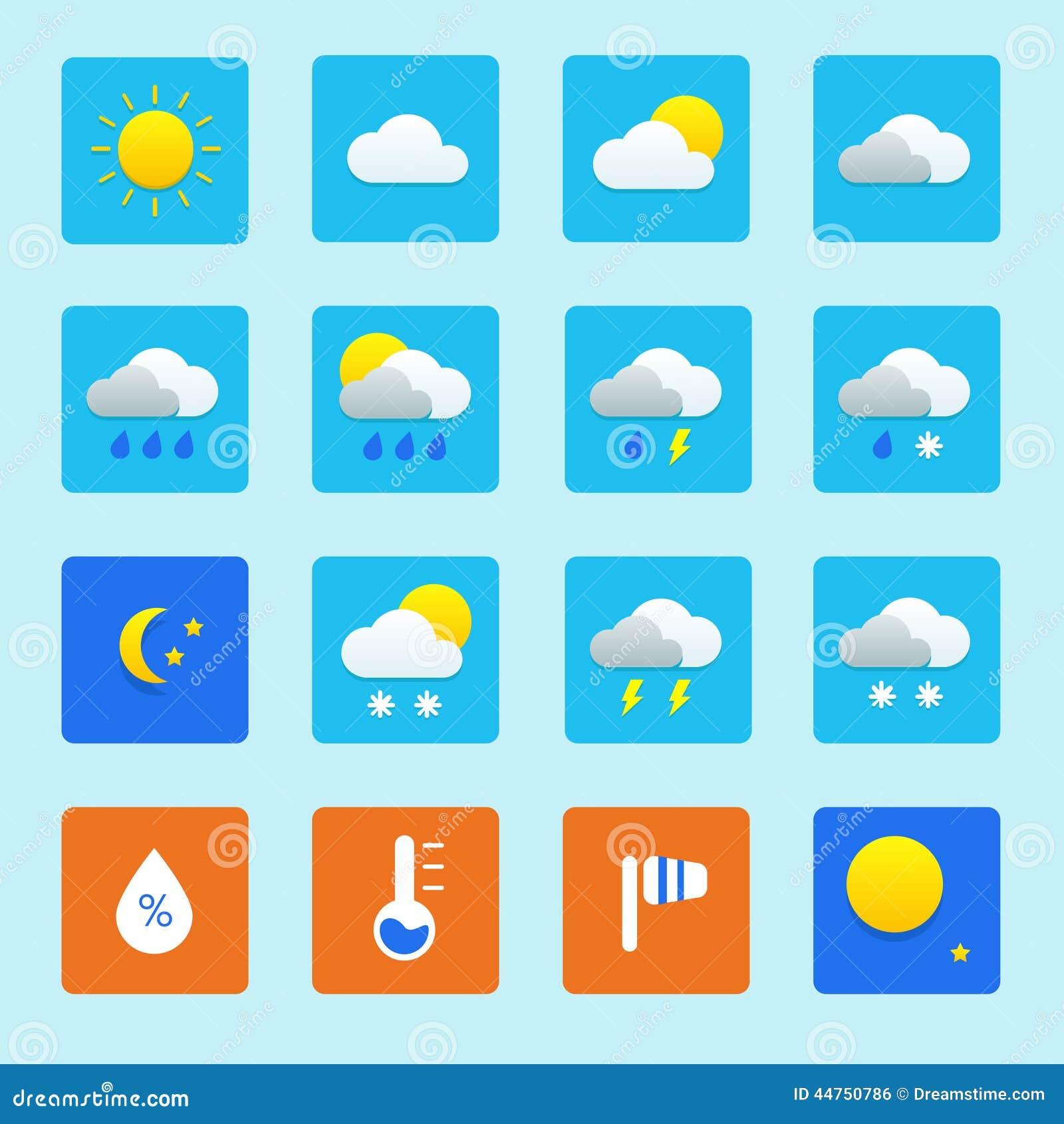 Illustrazione Di Stock Insieme Dell Icona Delle Icone Del Tempo Con Neve Pioggia Il Sole E Le Nuvole Image44750786 on Weather Forecast Symbols