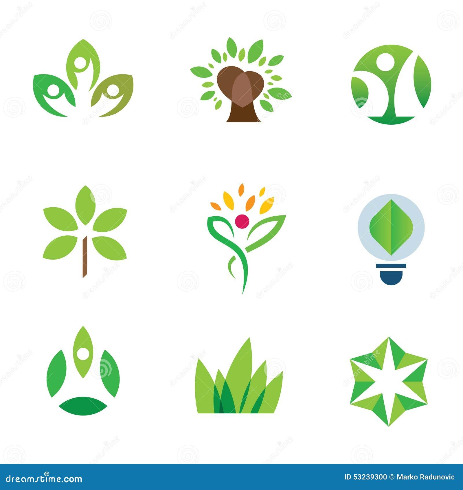 Insieme dell icona di logo della comunità della natura dell albero di verde di consapevolezza dell ambiente di Eco