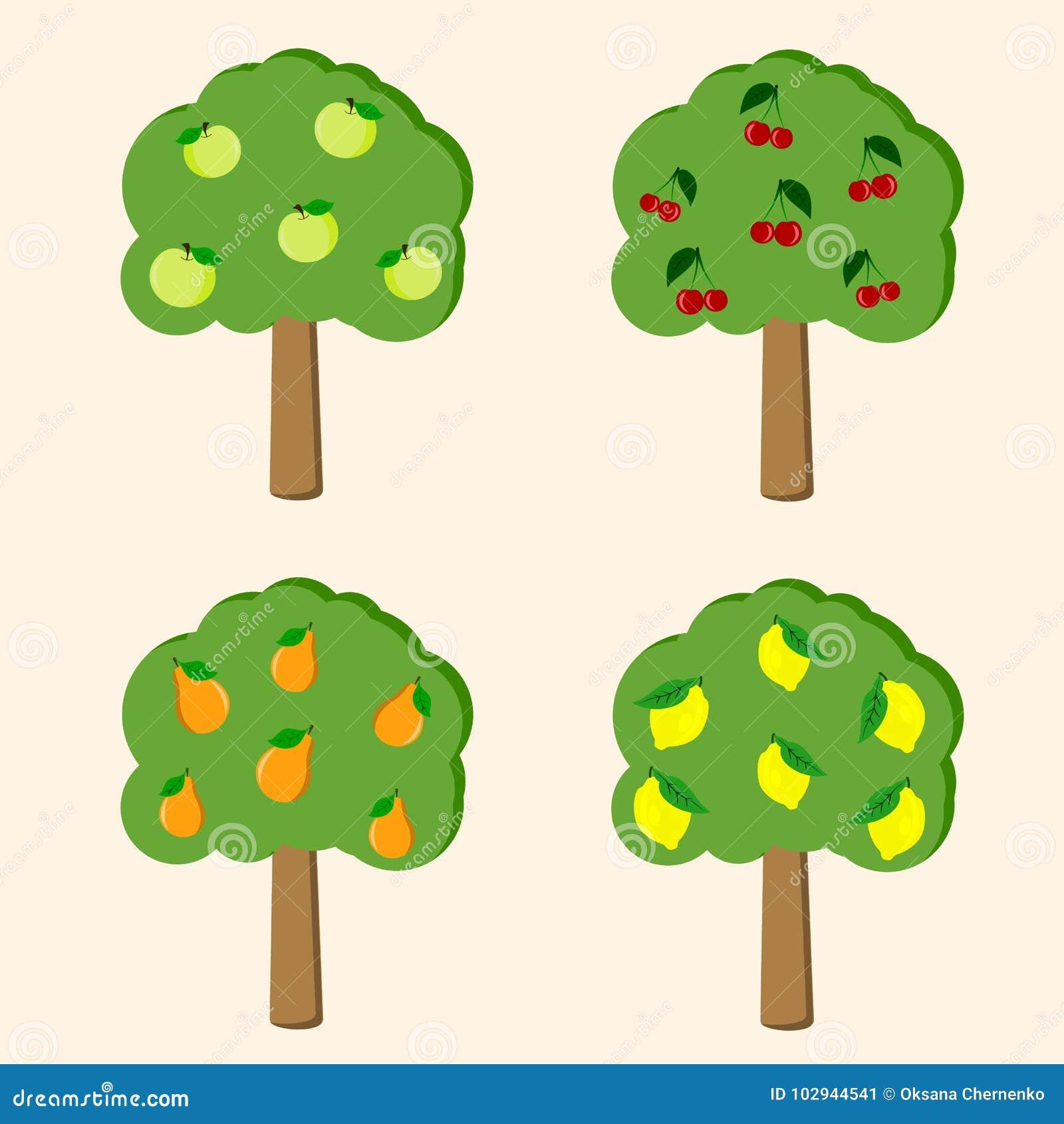 Foto Di Alberi Da Frutto insieme dell'illustrazione degli alberi da frutto