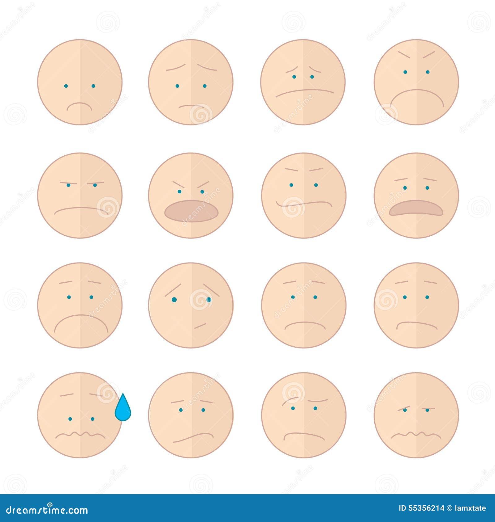 Insieme dell illustrazione di sorriso degli emoticon dei fronti