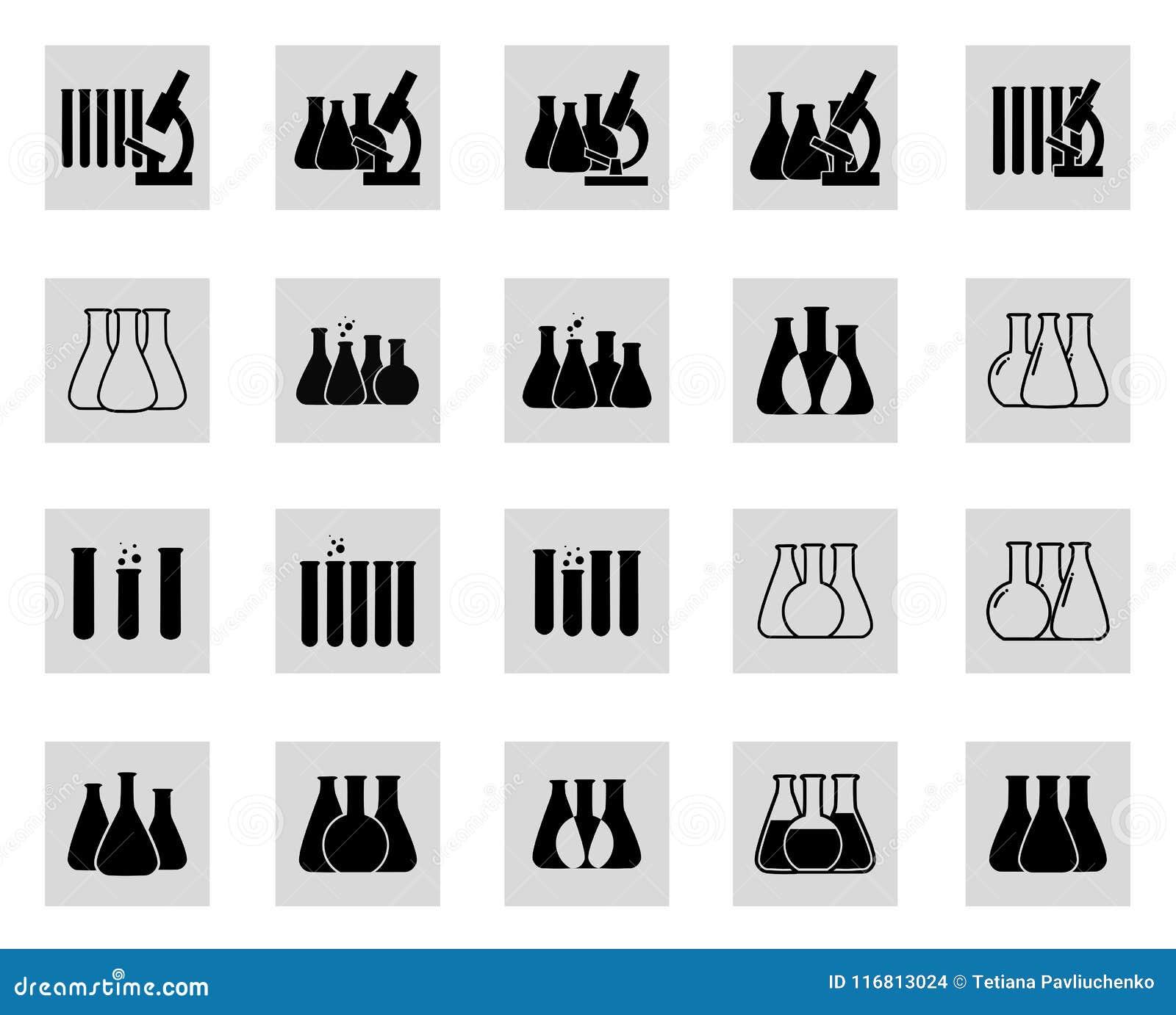 Insieme dell illustrazione di vettore delle icone chimiche del laboratorio