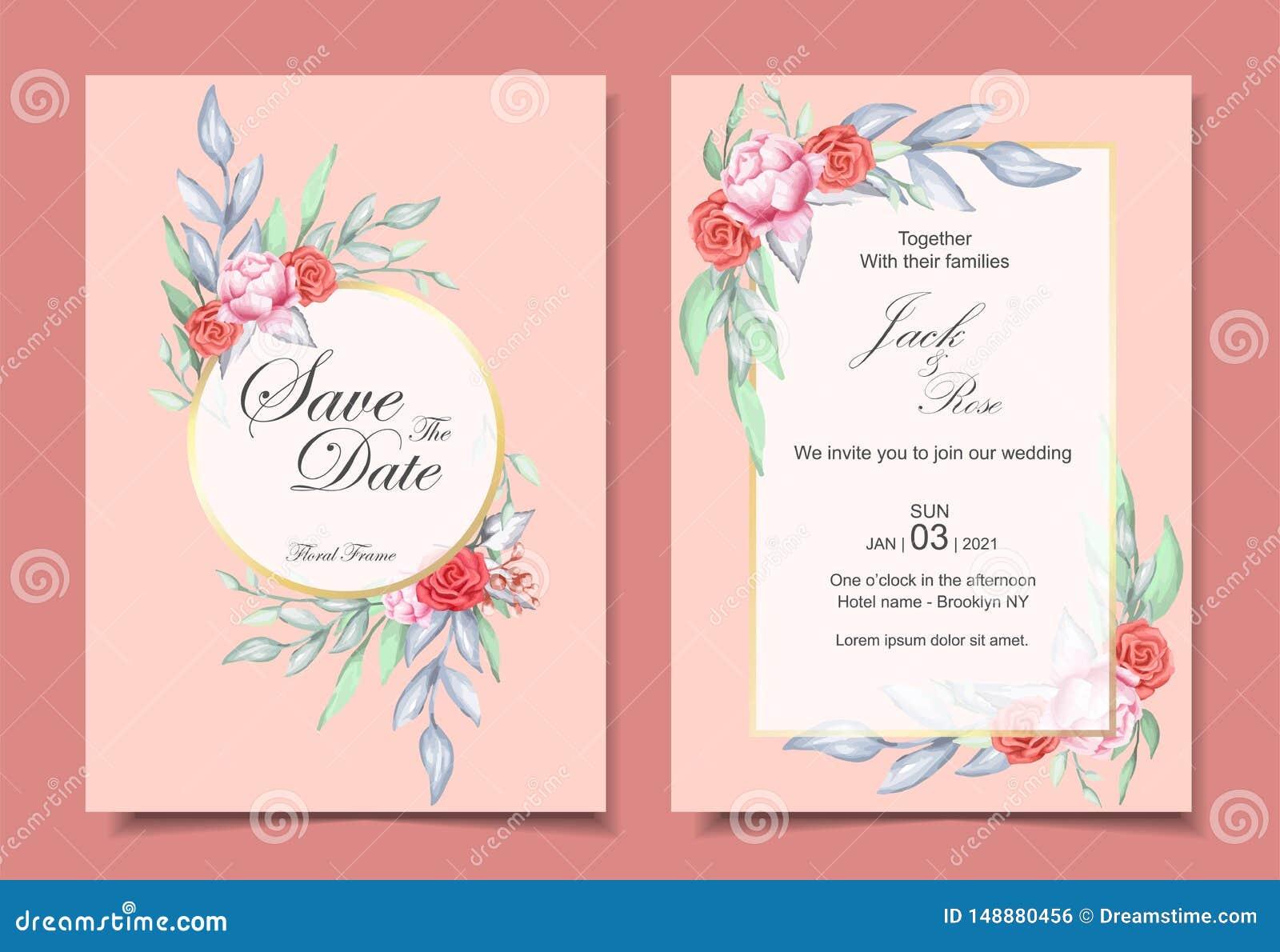 Insieme dell invito di nozze dell ornamento floreale dell acquerello e del telaio dorato con il concetto di progetto elegante di