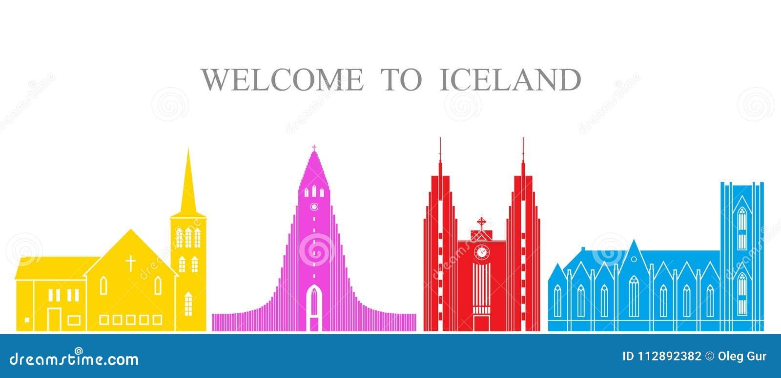 Insieme dell Islanda Architettura isolata dell Islanda su fondo bianco