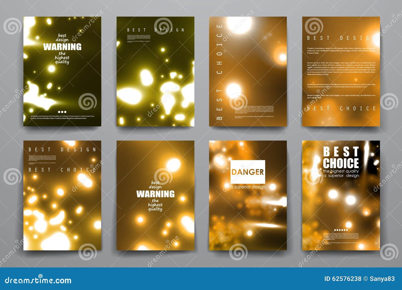 Insieme dell opuscolo, modelli di progettazione del manifesto in neon